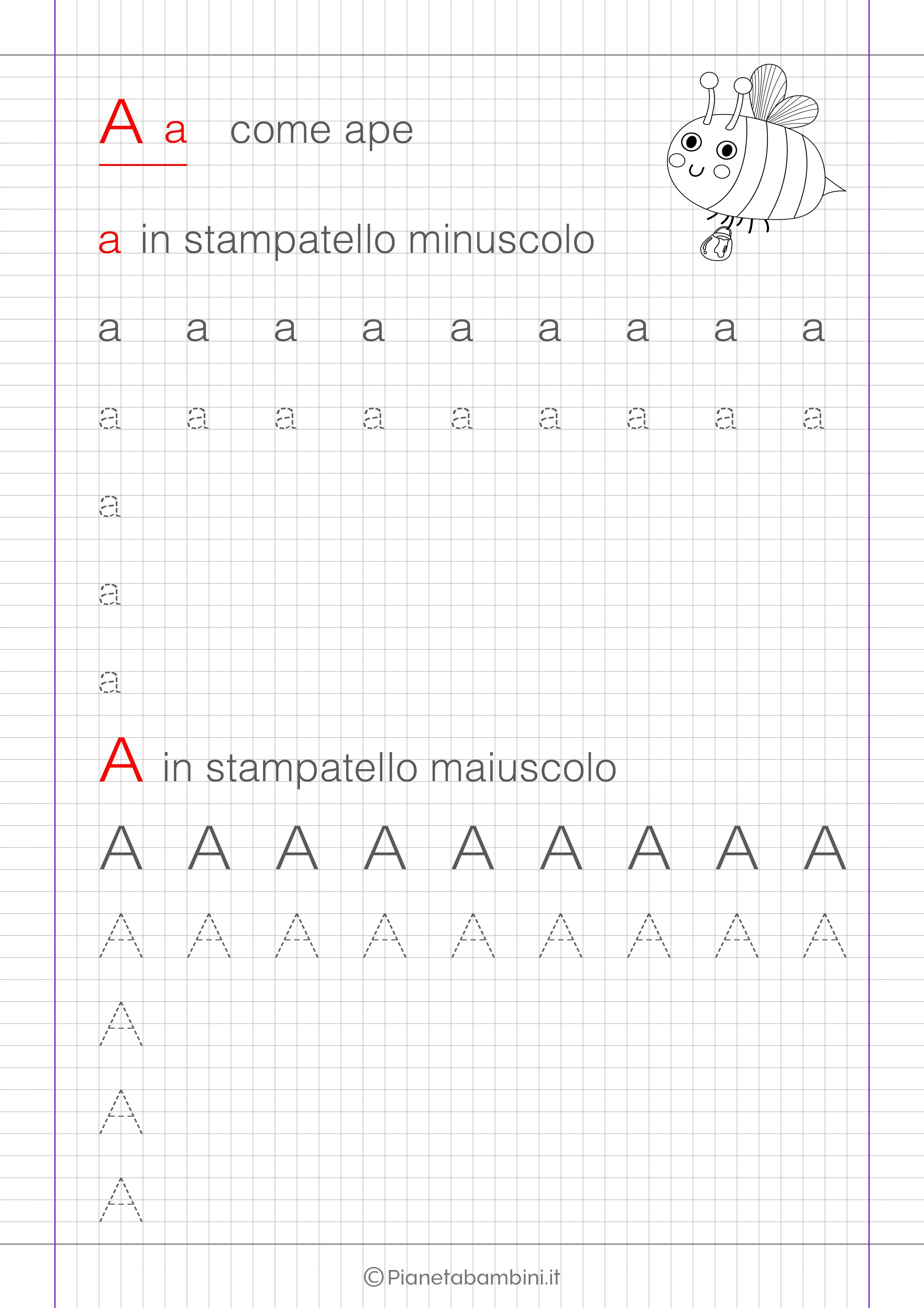 Scheda di pregrafismo lettera A in stampatello