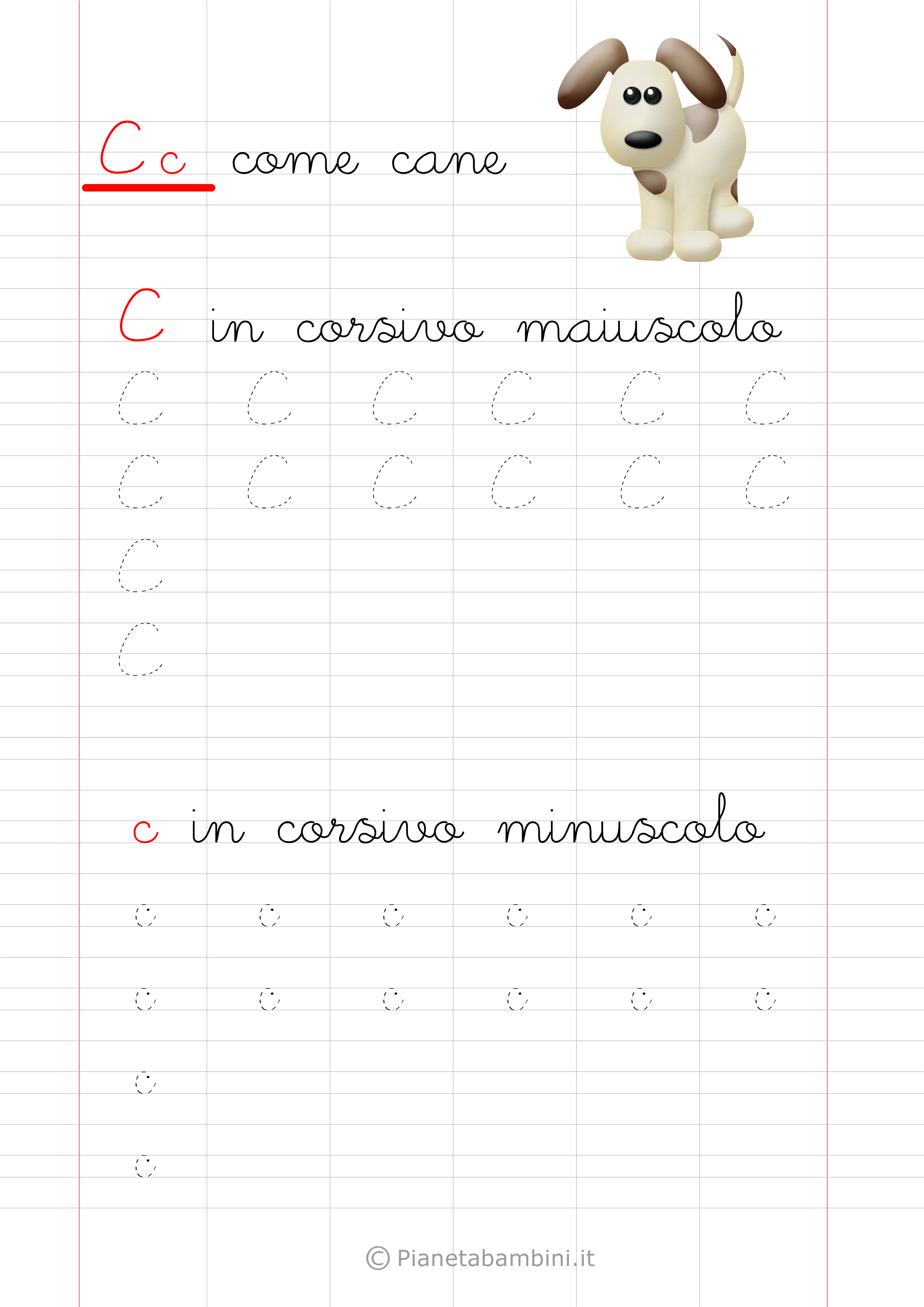 Scheda di pregrafismo lettera C in corsivo