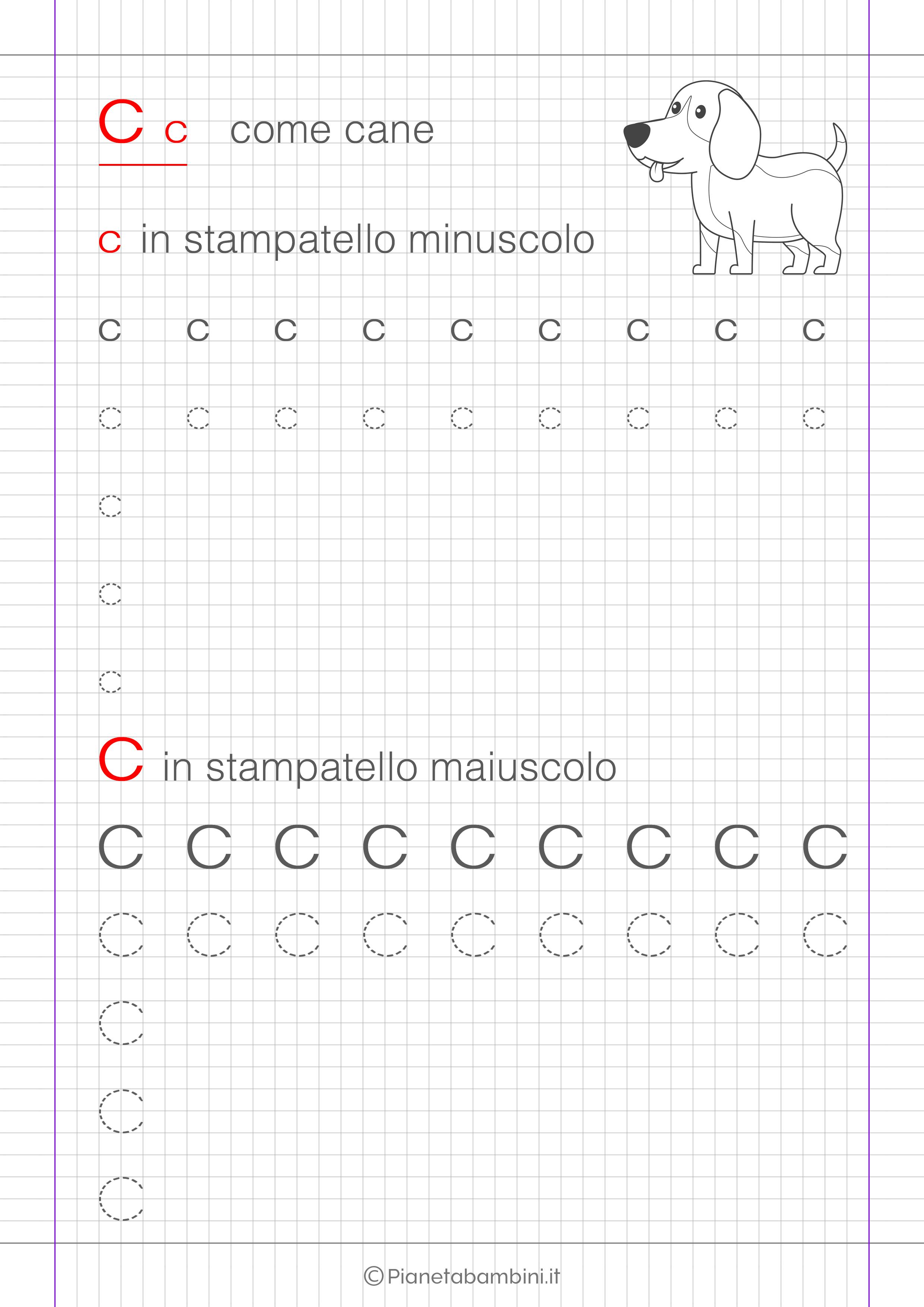 Scheda di pregrafismo lettera C in stampatello