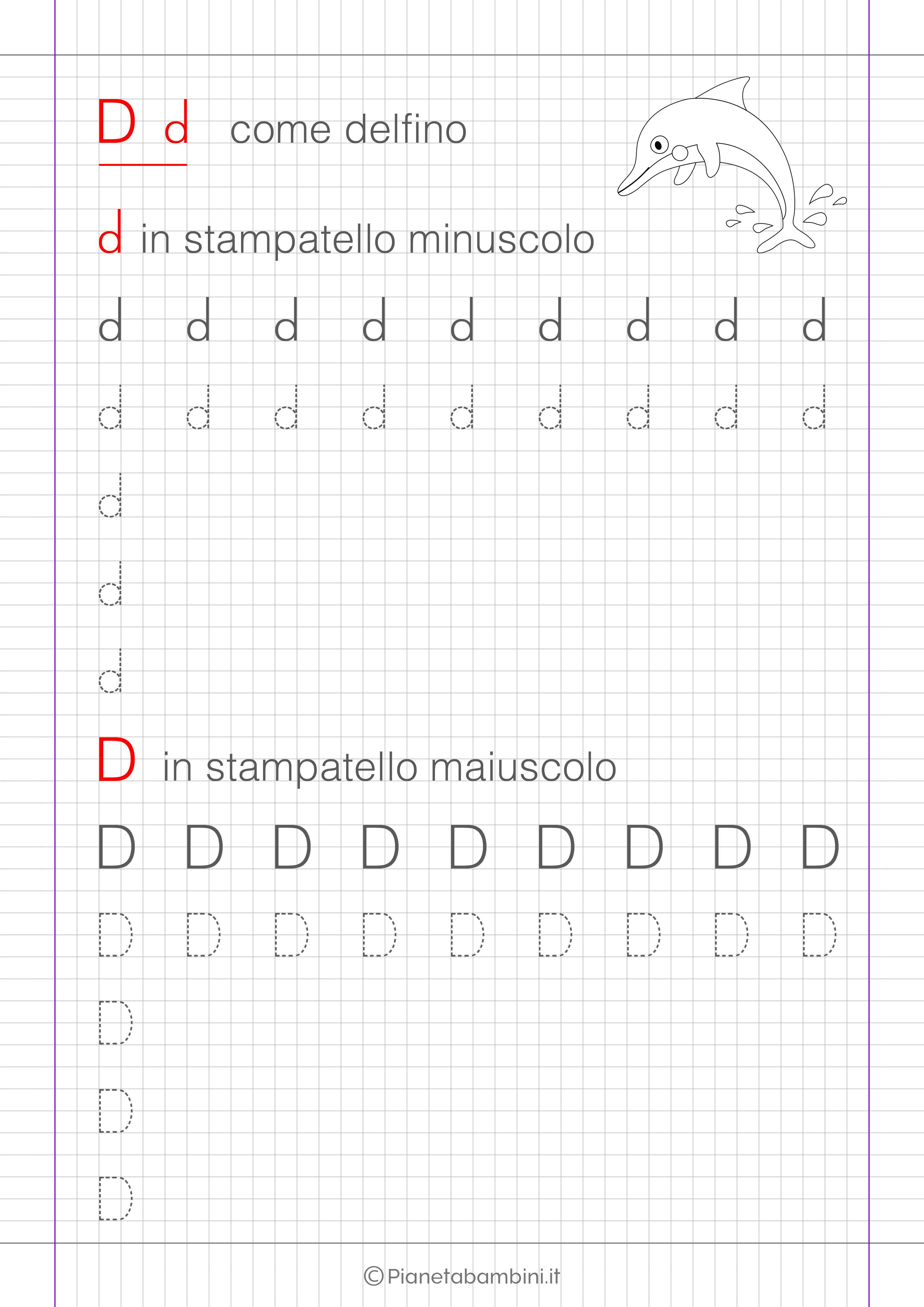 Scheda di pregrafismo lettera D in stampatello