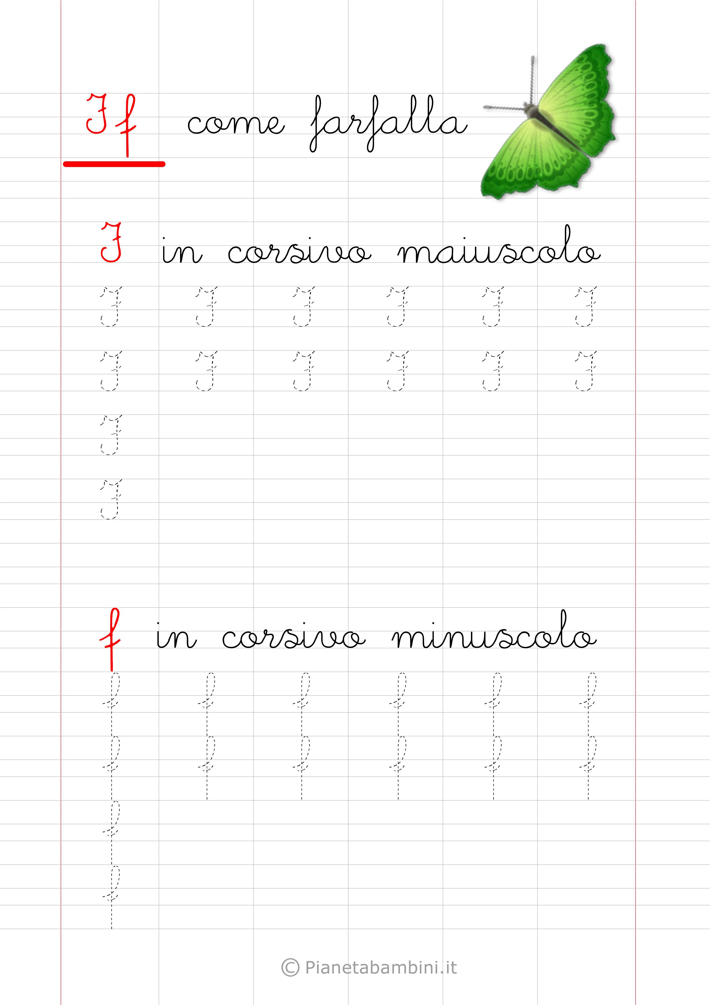 Scheda di pregrafismo lettera F in corsivo