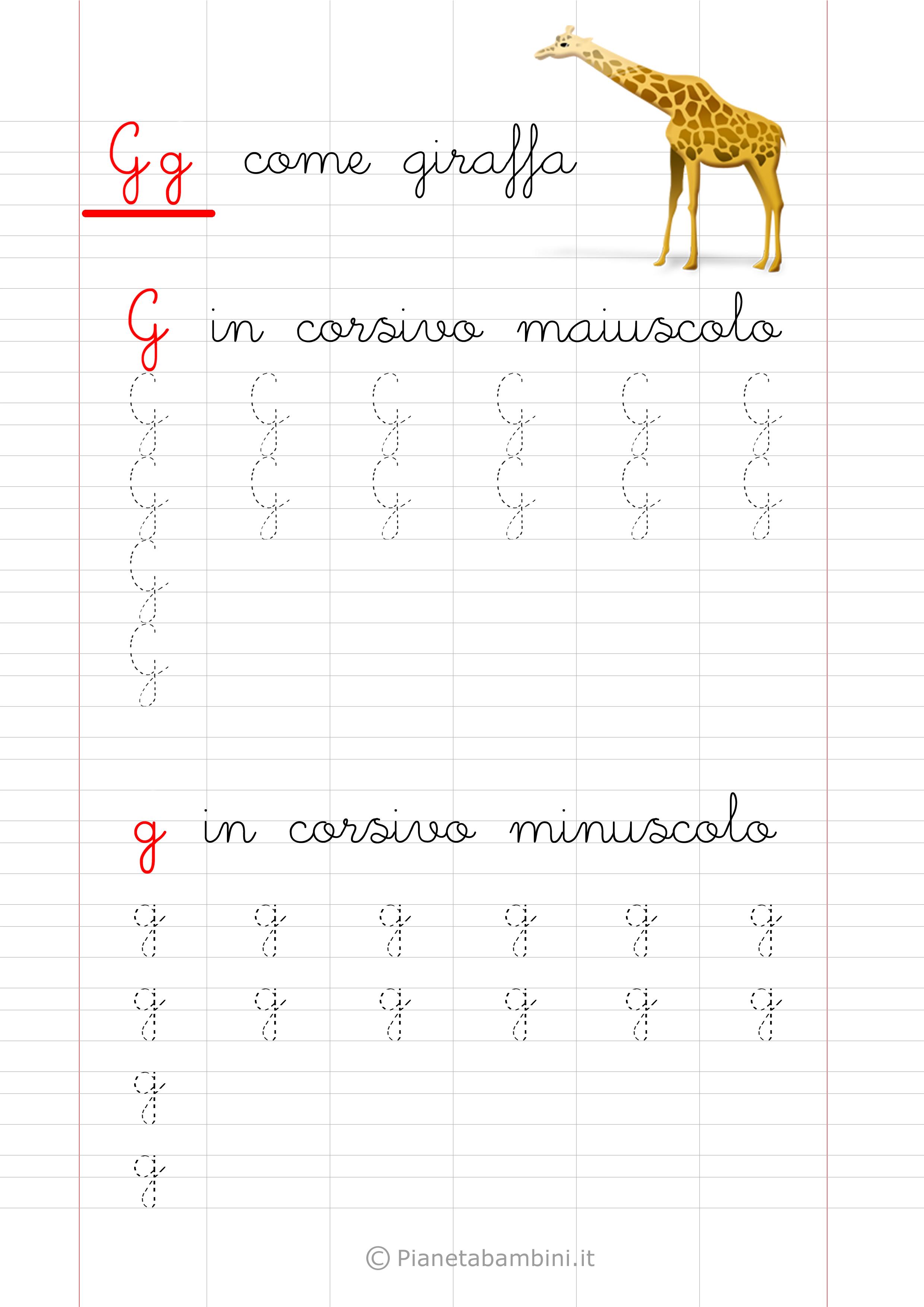 Scheda di pregrafismo lettera G in corsivo