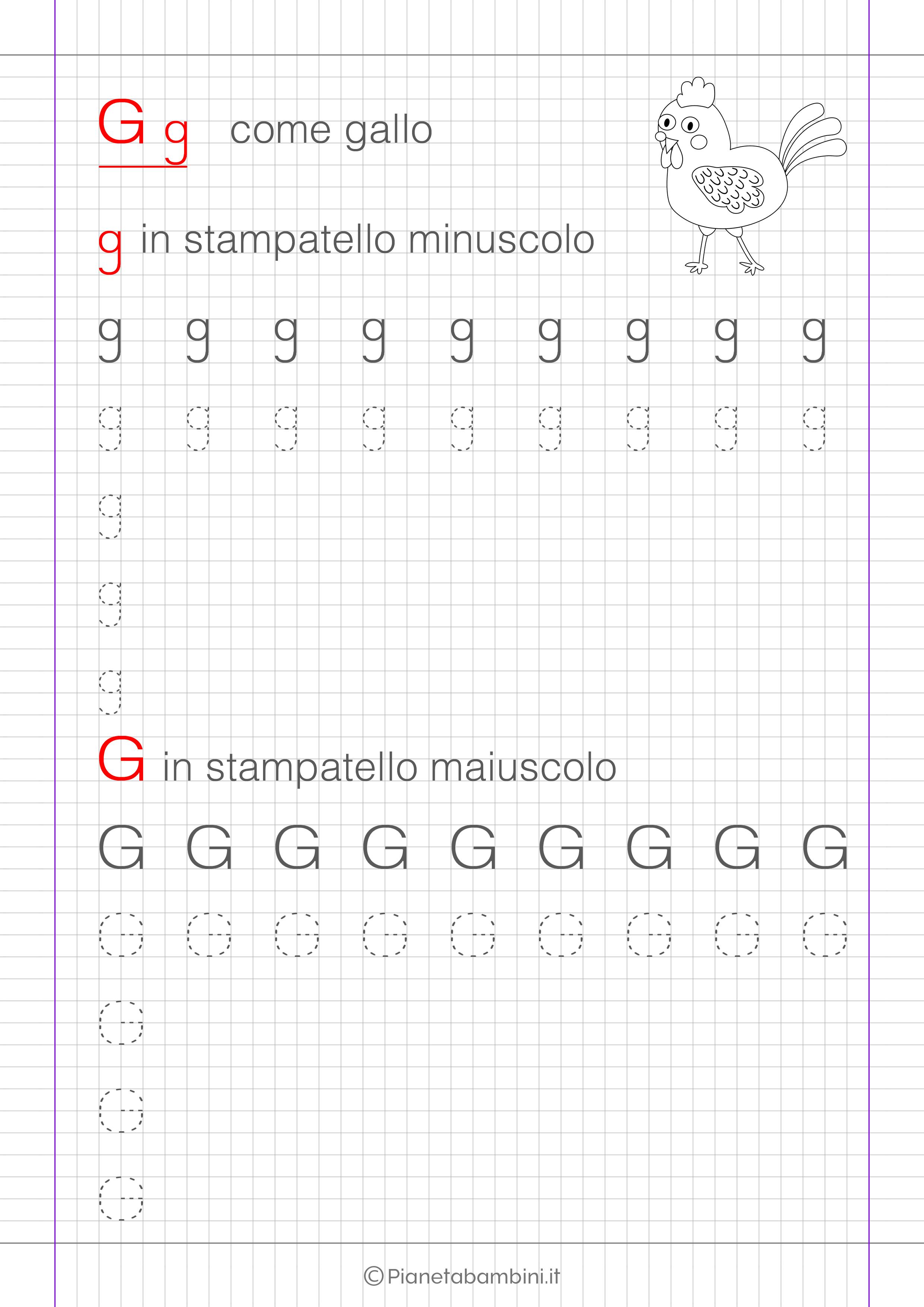 Scheda di pregrafismo lettera G in stampatello