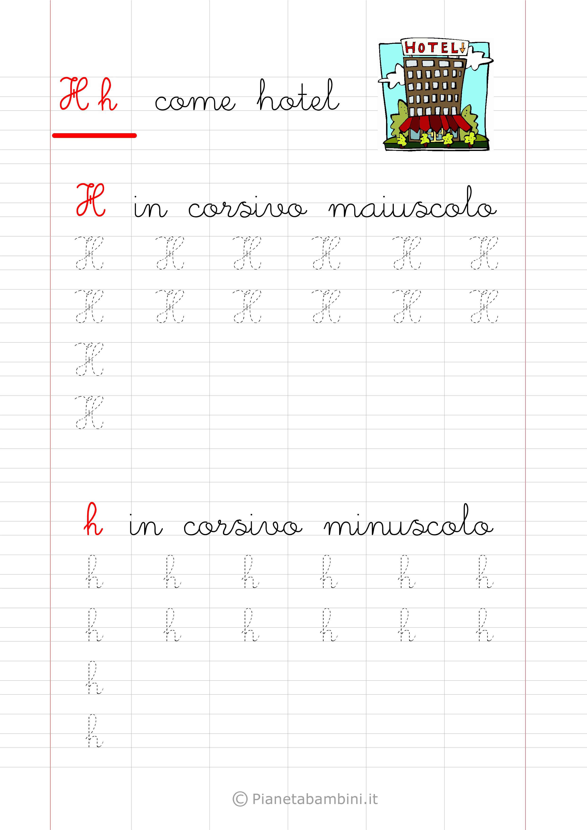 Scheda di pregrafismo lettera H in corsivo