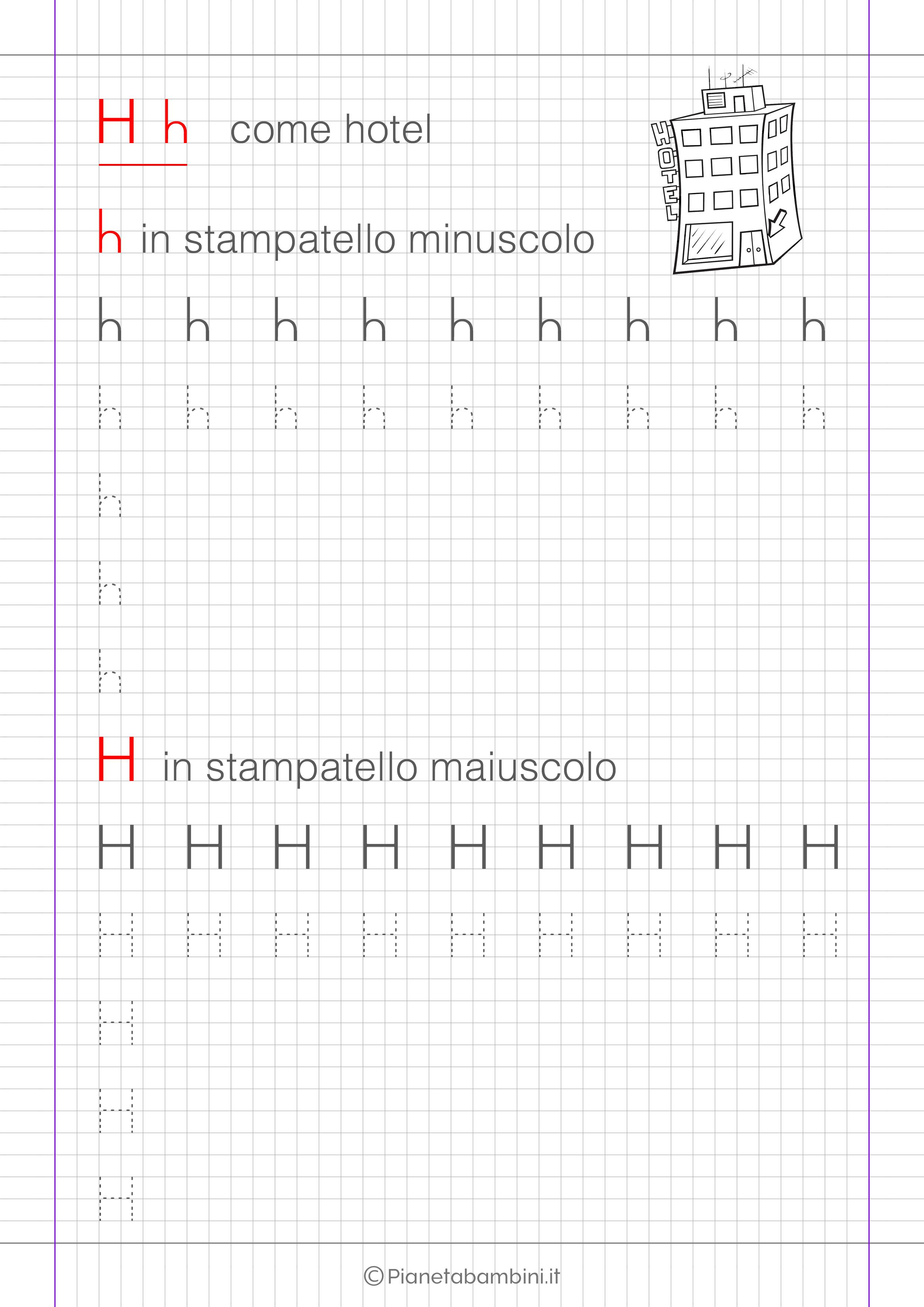 Scheda di pregrafismo lettera H in stampatello