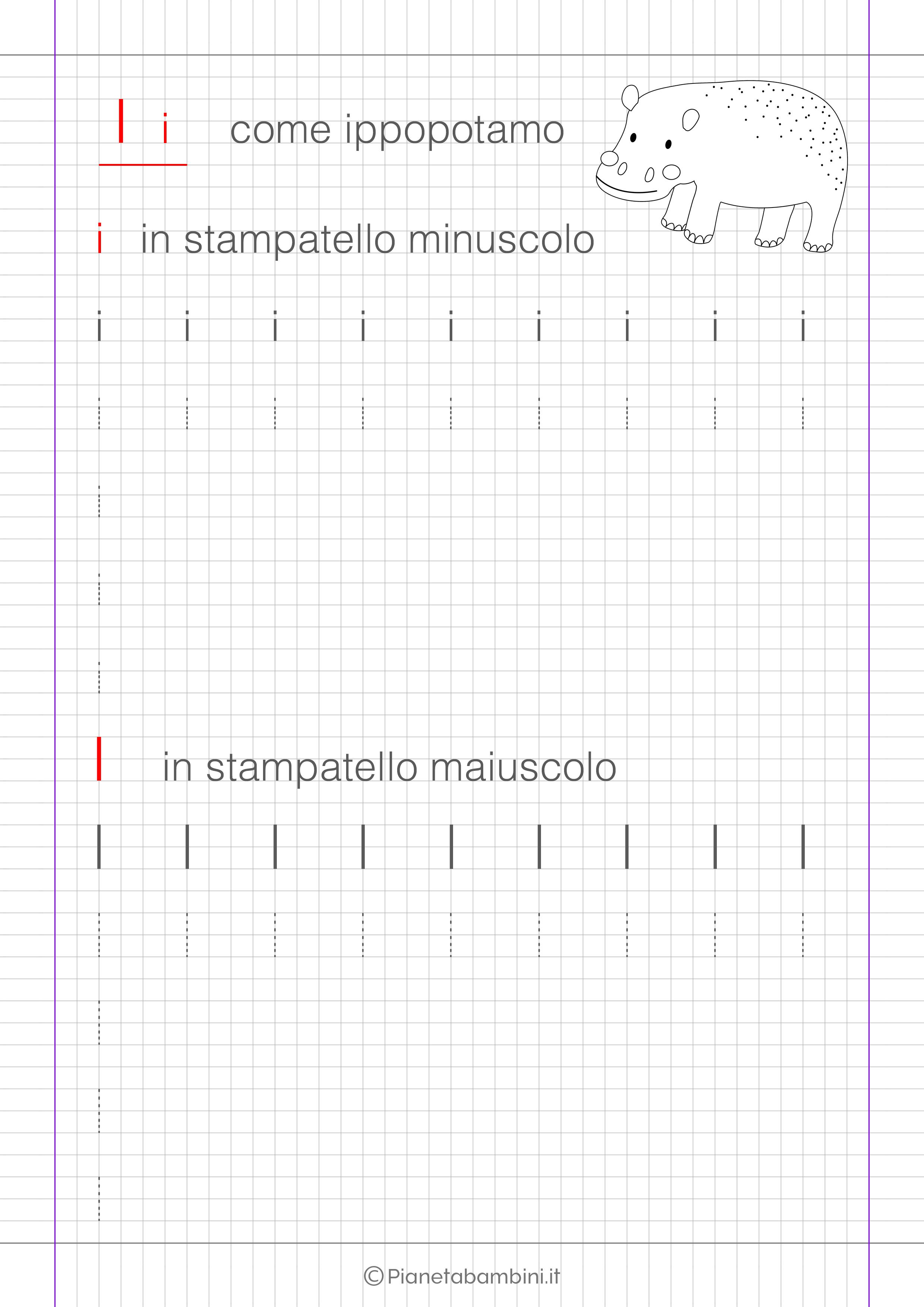 Scheda di pregrafismo lettera I in stampatello