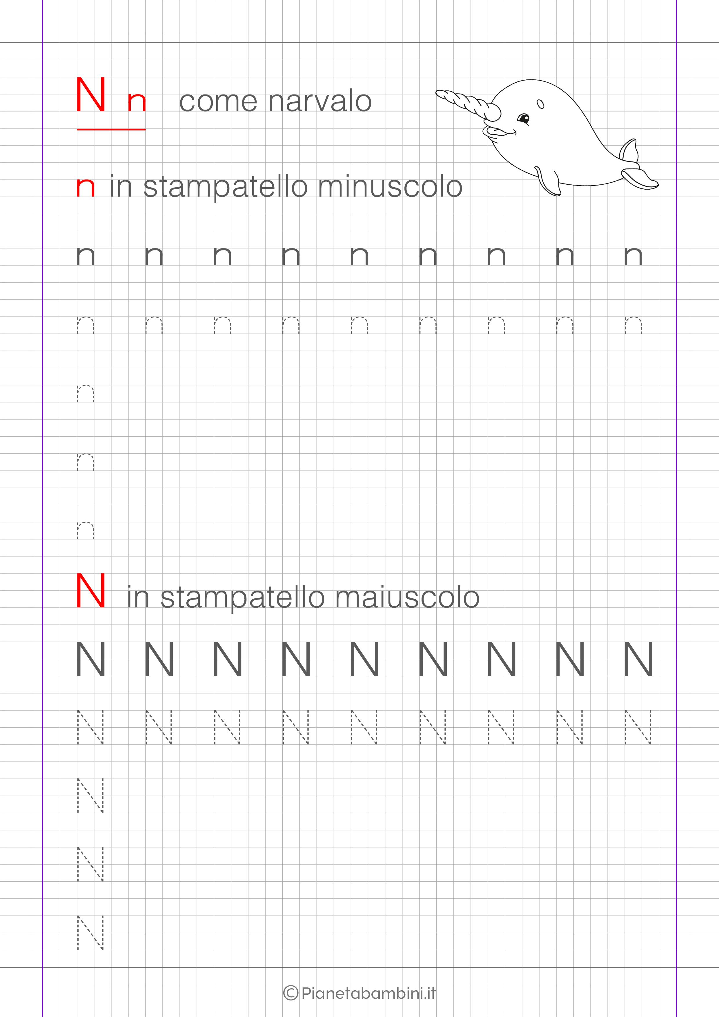 Scheda di pregrafismo lettera N in stampatello