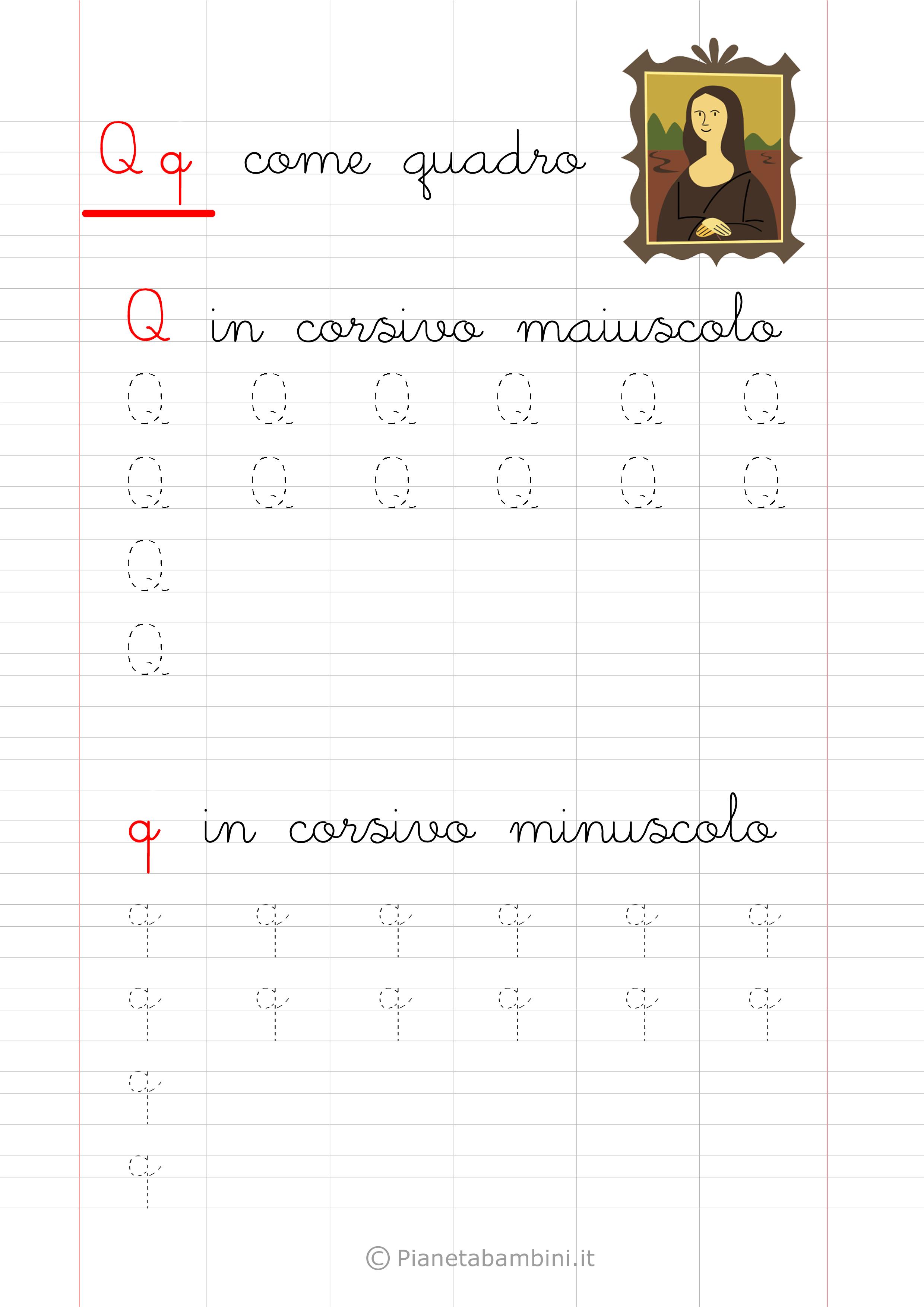 Scheda di pregrafismo lettera Q in corsivo