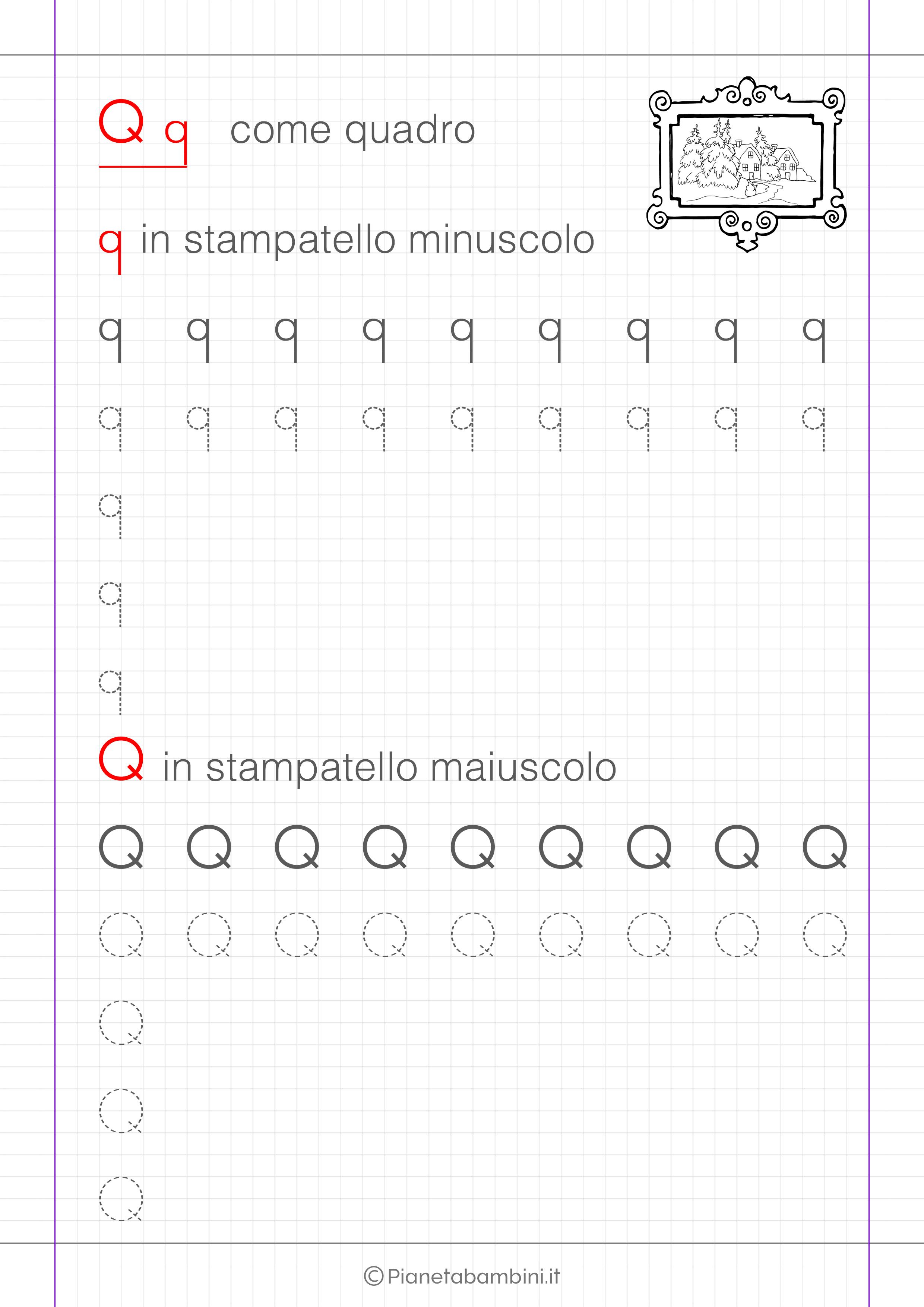 Scheda di pregrafismo lettera Q in stampatello