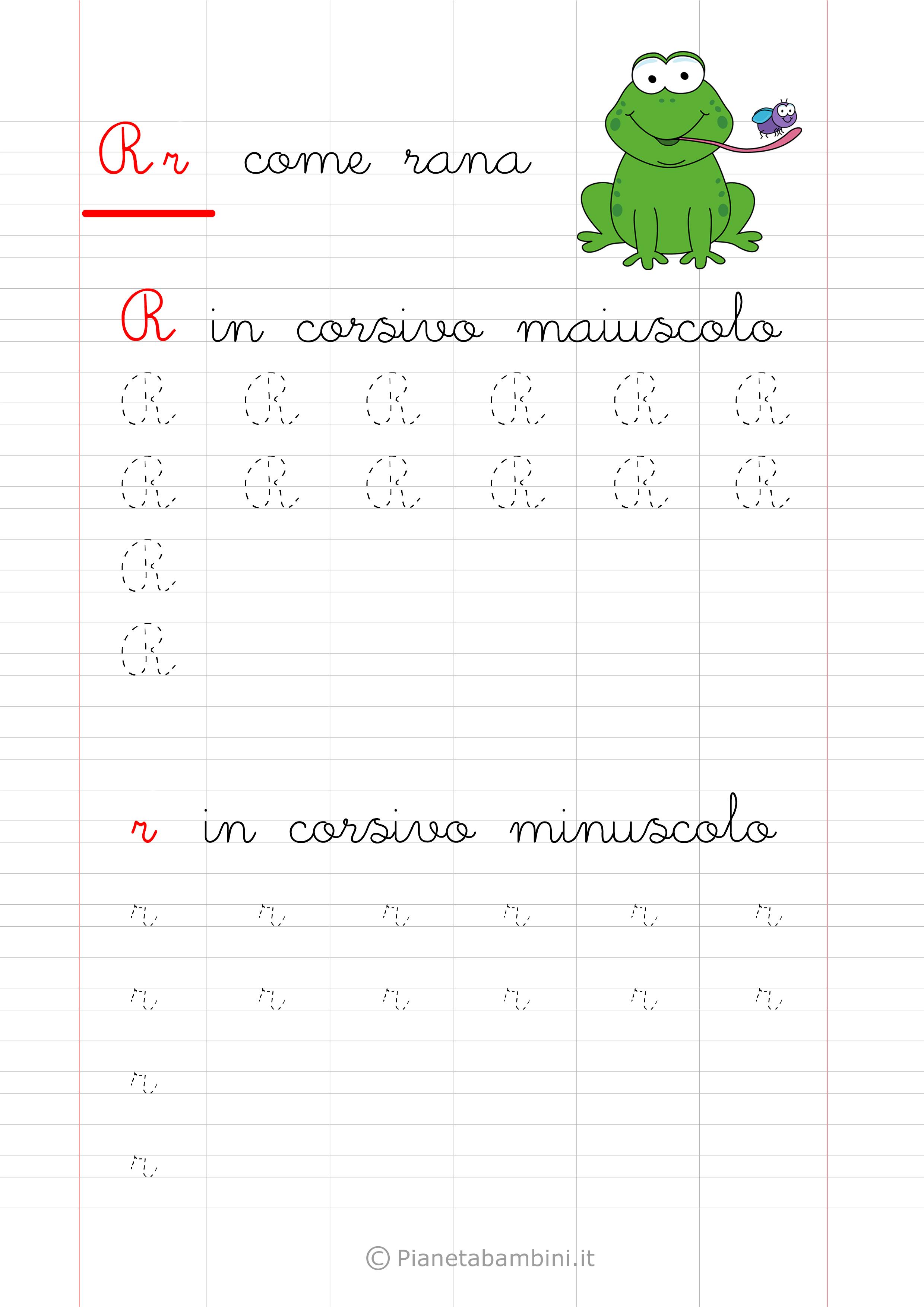 Scheda di pregrafismo lettera R in corsivo