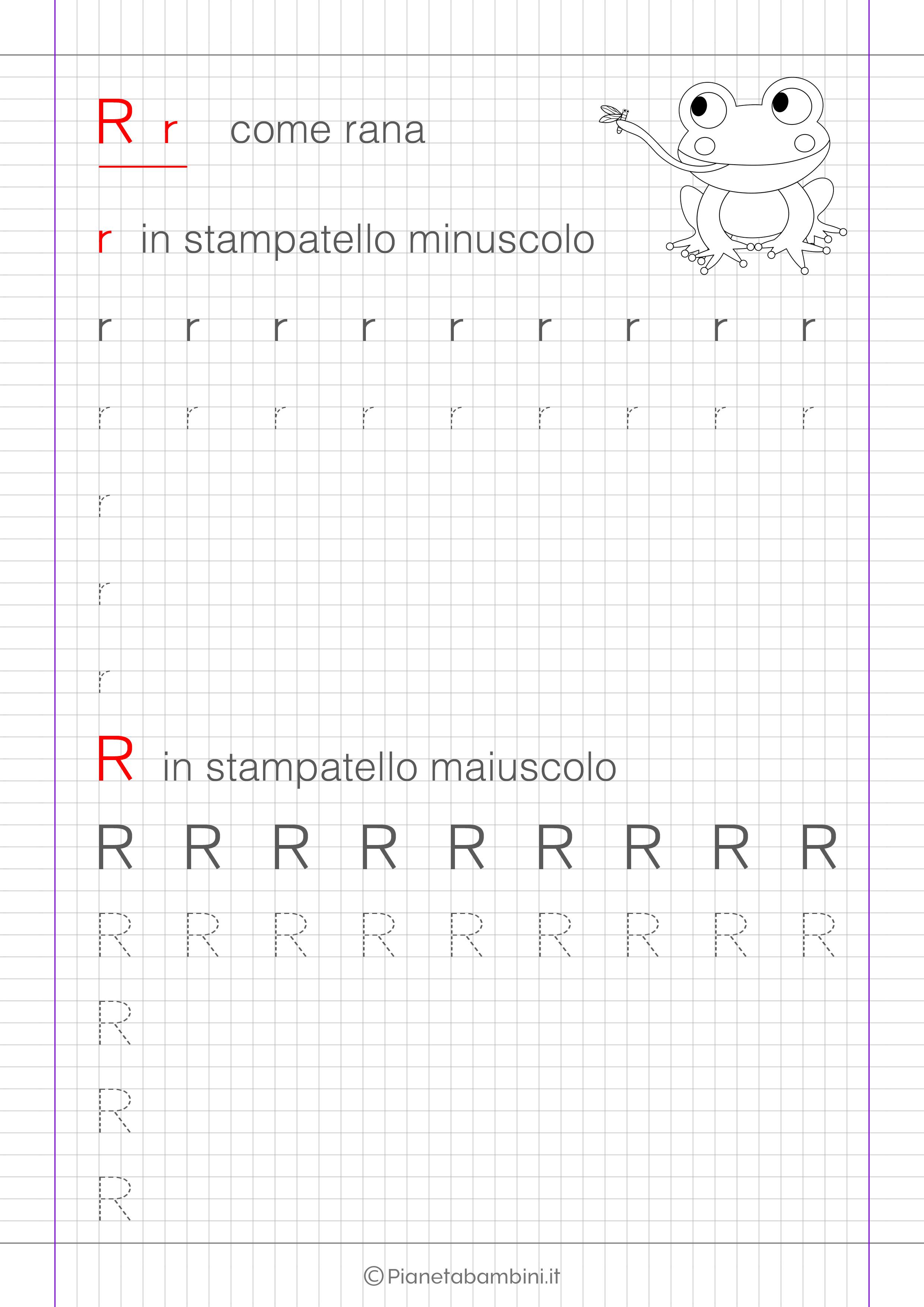 Scheda di pregrafismo lettera R in stampatello