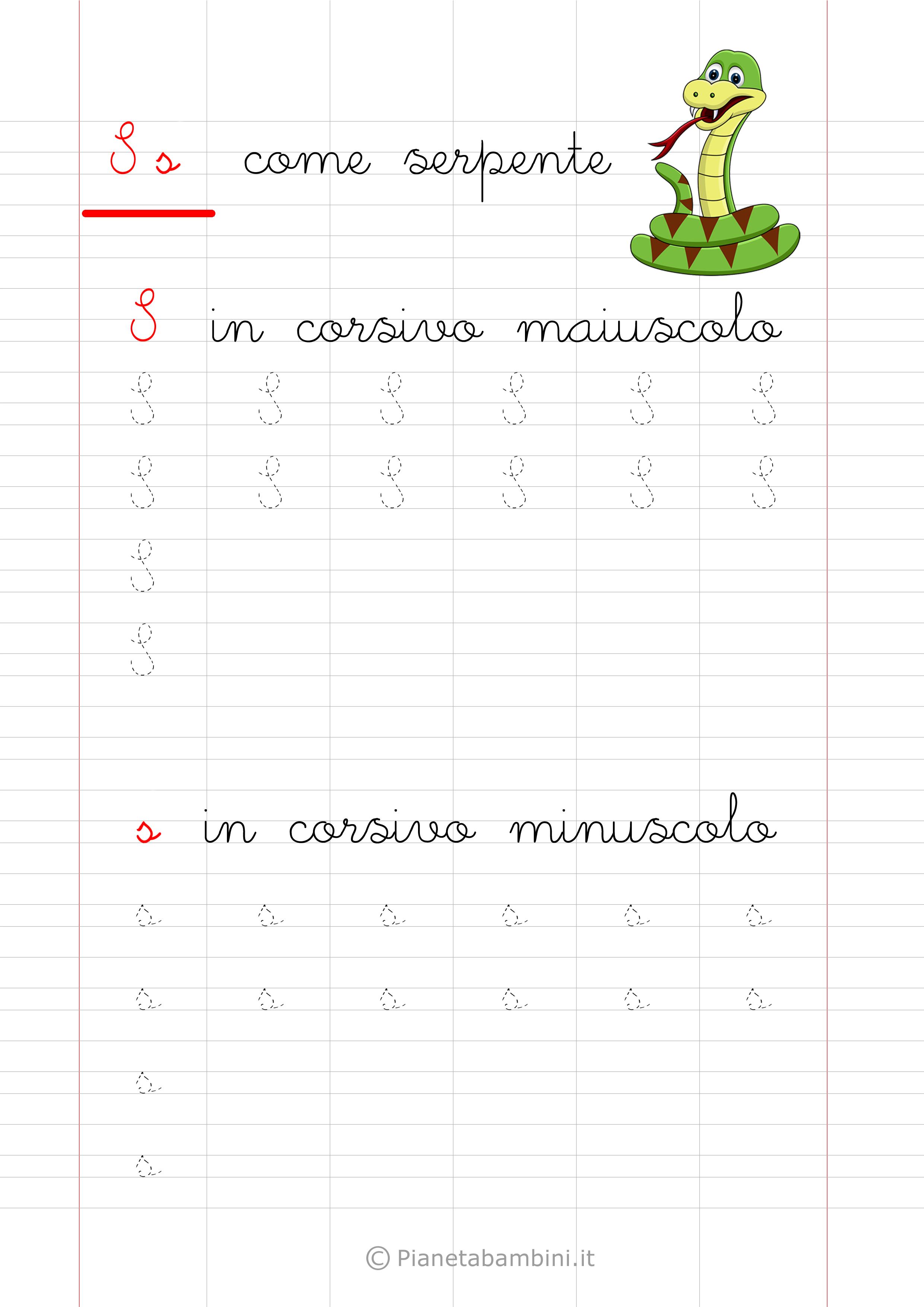 Scheda di pregrafismo lettera S in corsivo