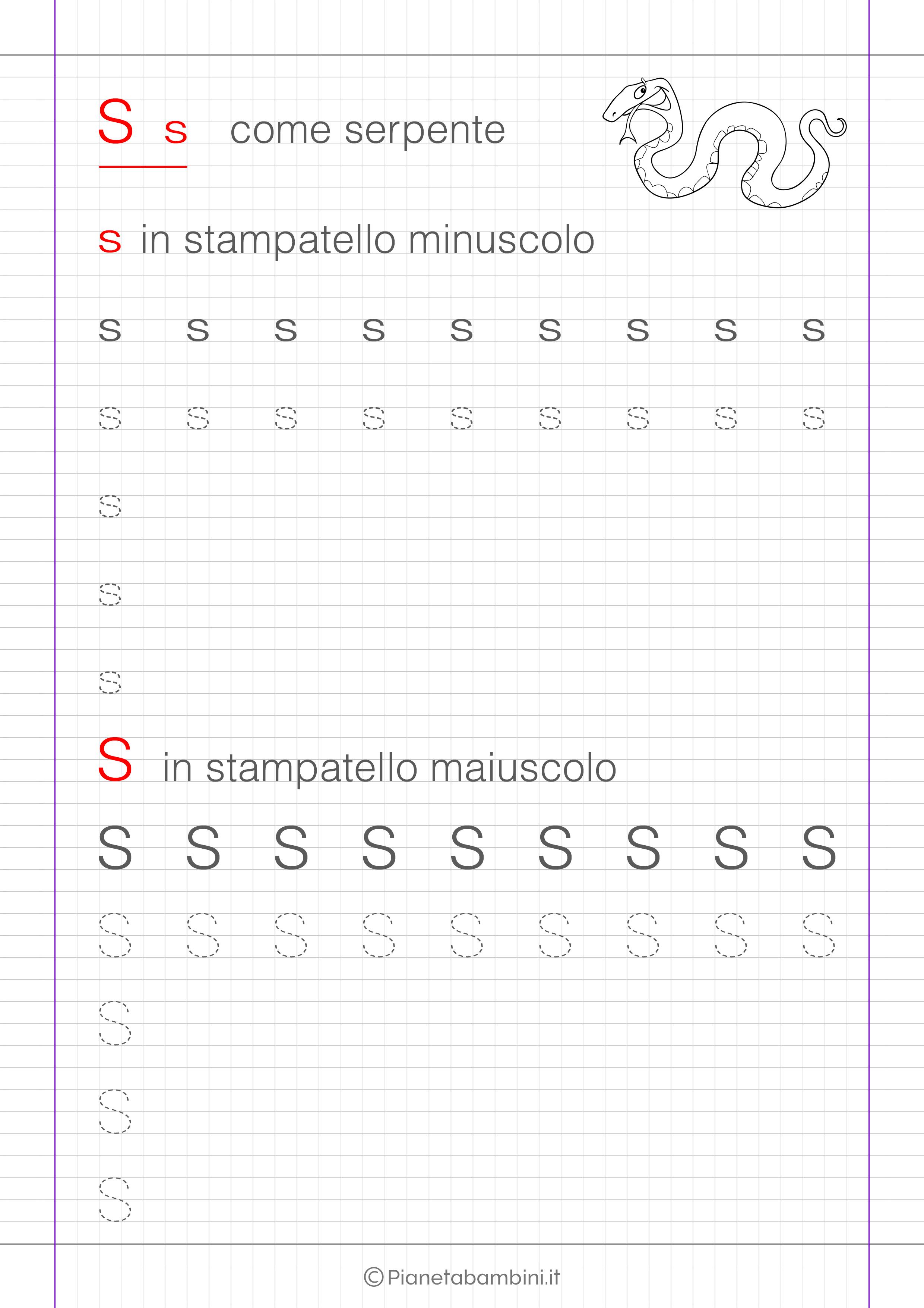 Scheda di pregrafismo lettera S in stampatello
