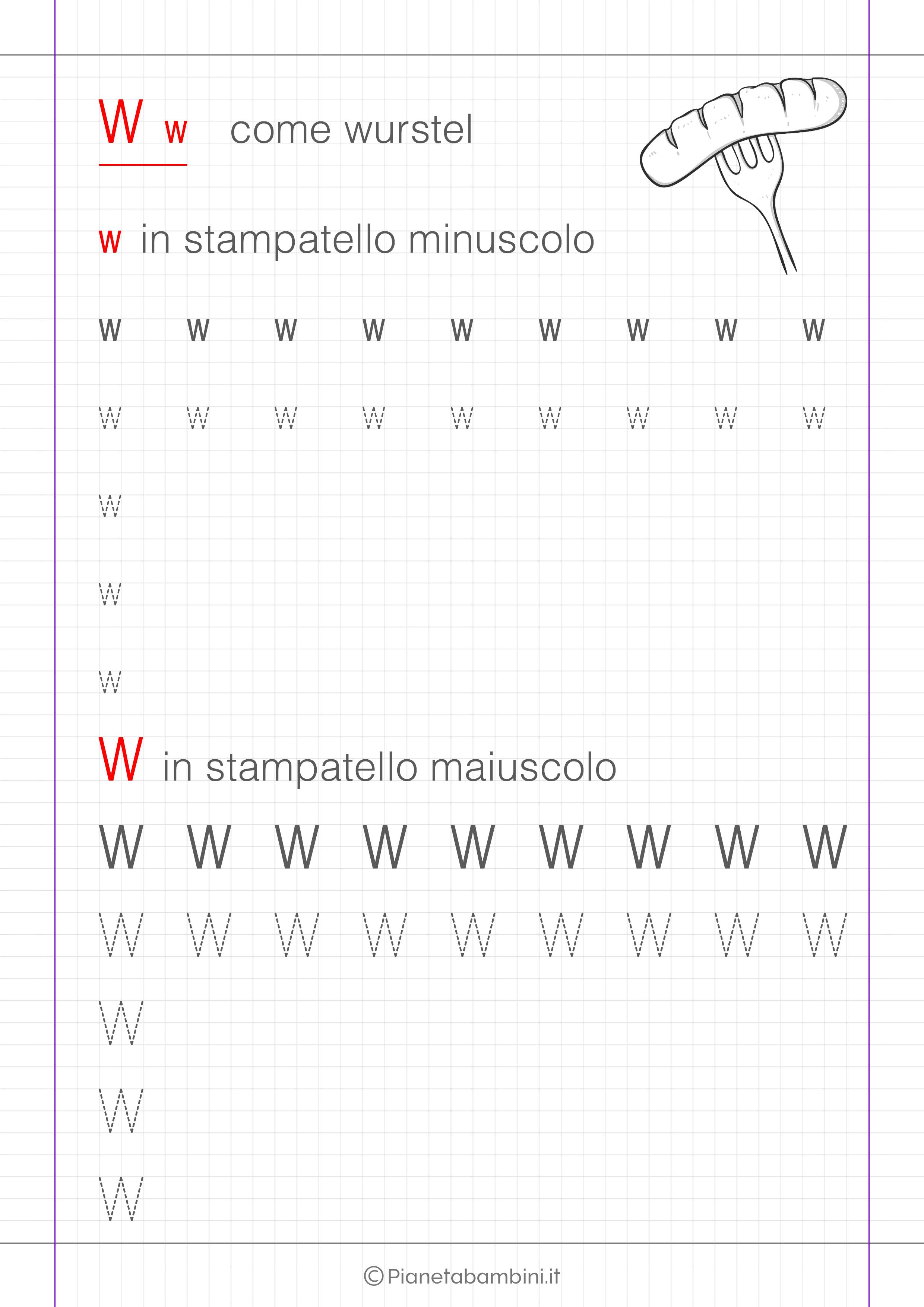 Scheda di pregrafismo lettera W in stampatello