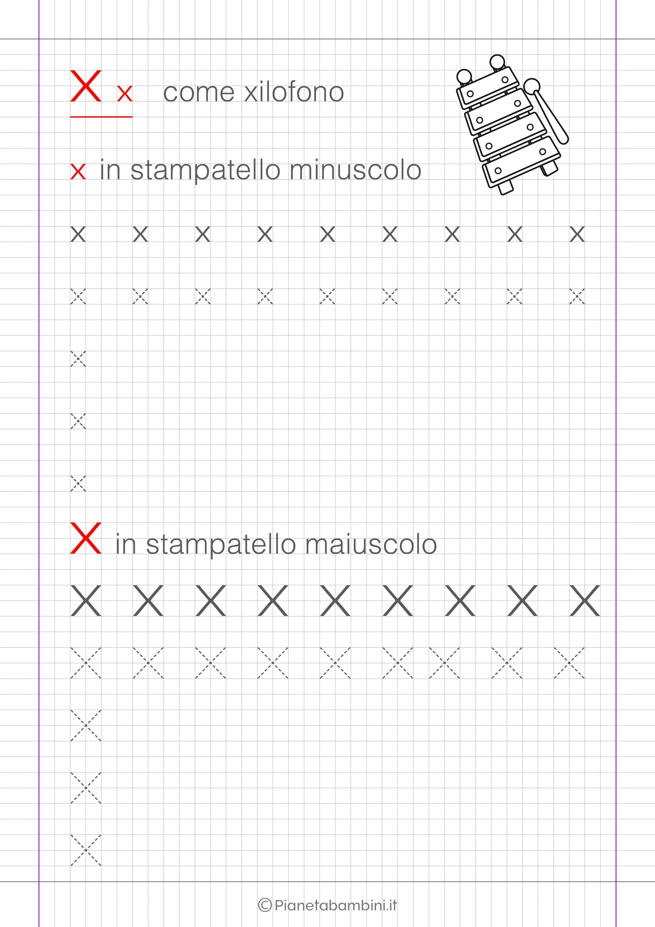 Scheda di pregrafismo lettera X in stampatello