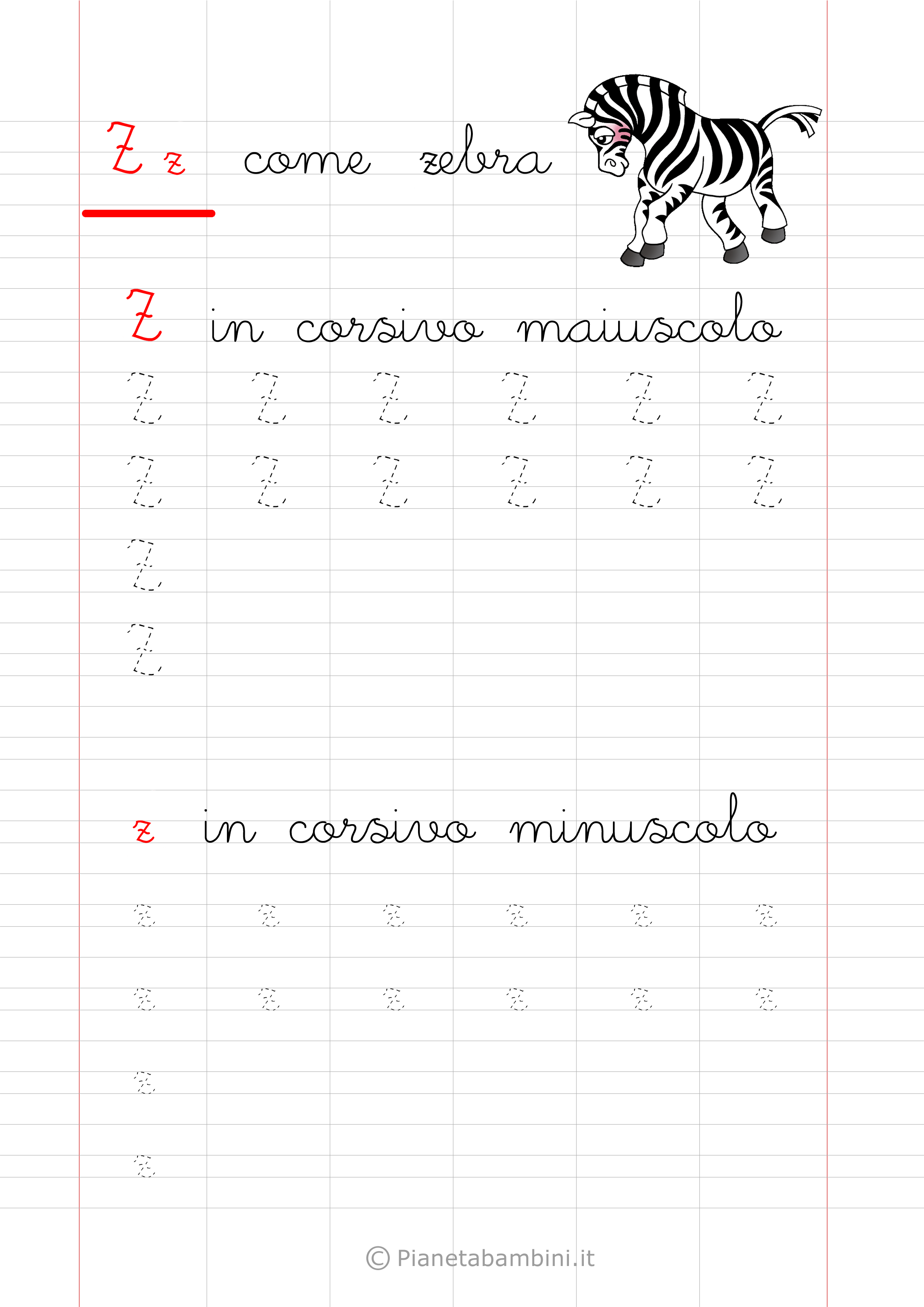 Scheda di pregrafismo lettera Z in corsivo