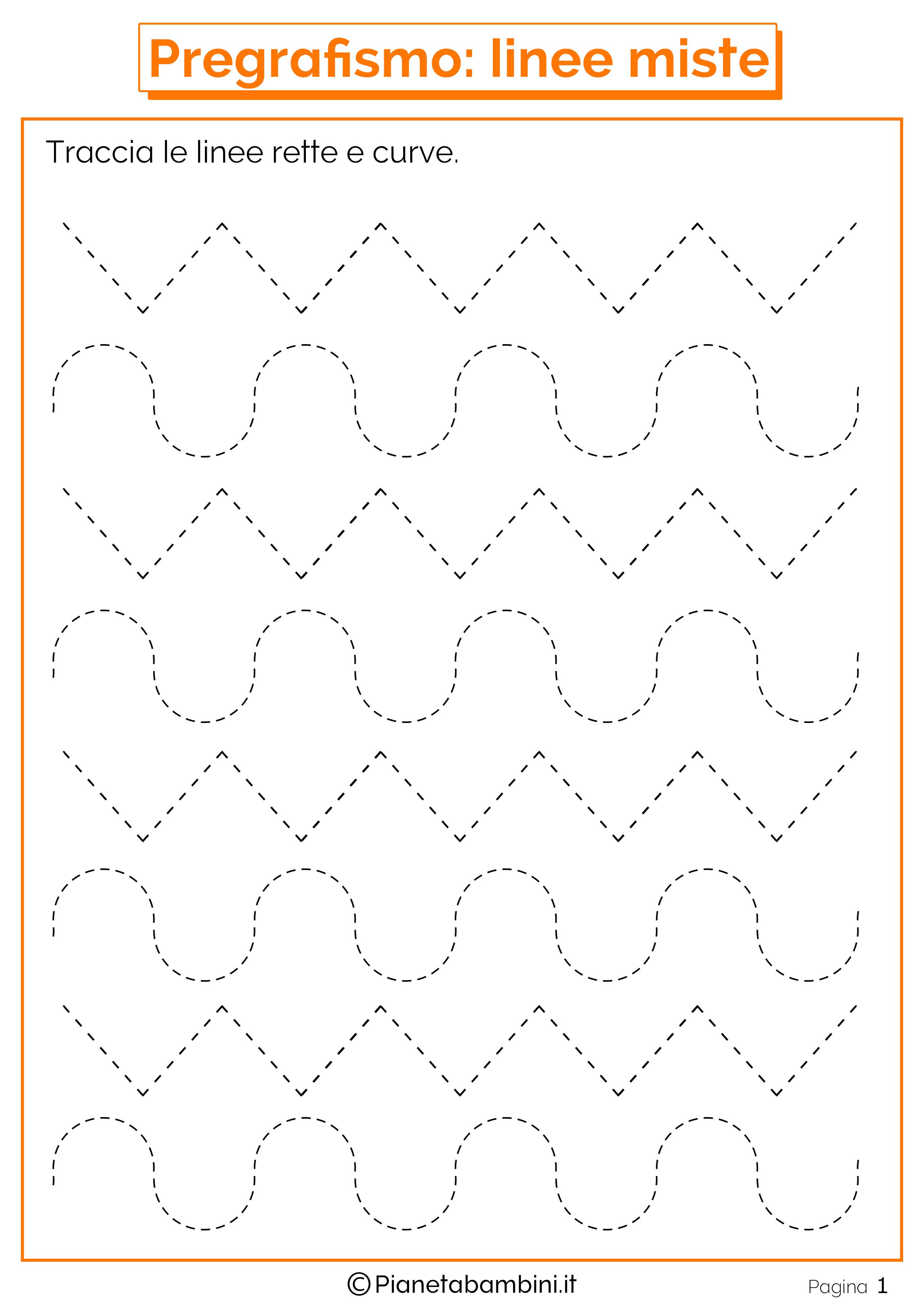Preferenza Schede di Pregrafismo di Percorsi con Linee Rette e Curve  FZ32