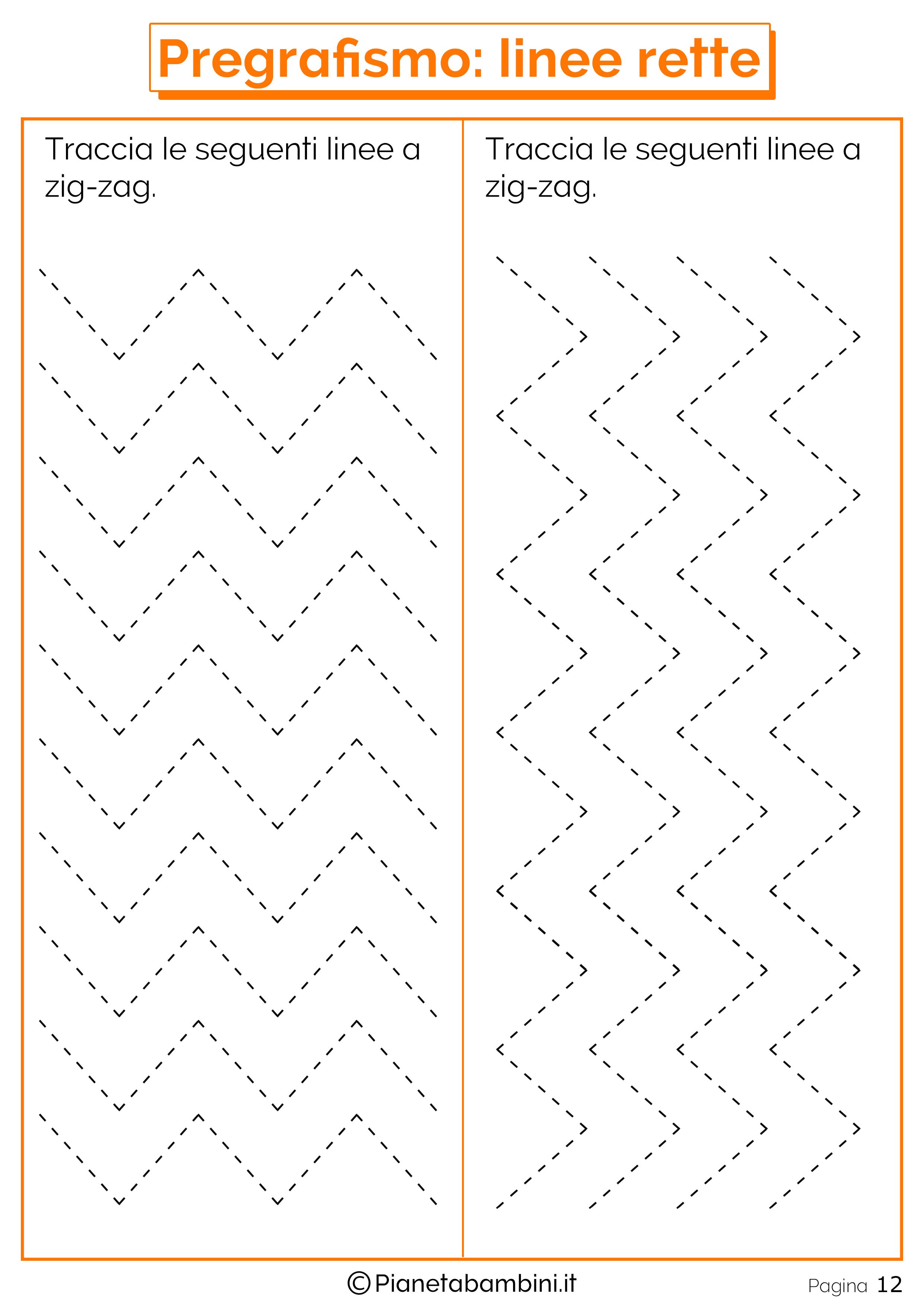schede di pregrafismo di percorsi con linee rette e curve