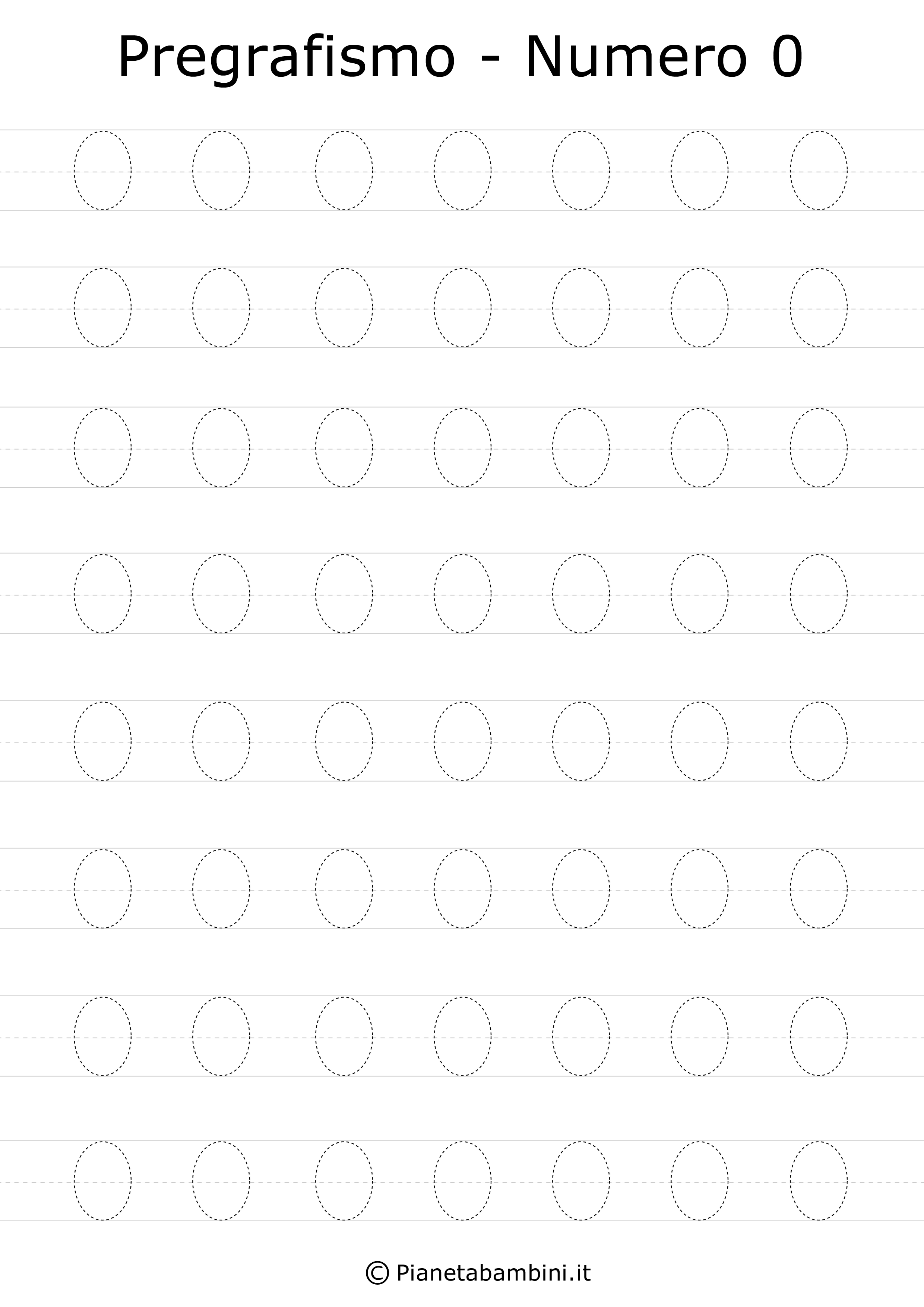 Schede Di Pregrafismo Dei Numeri Da 0 A 9 Da Stampare