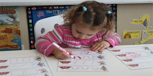 Schede di pregrafismo di percorsi sulle linee per bambini