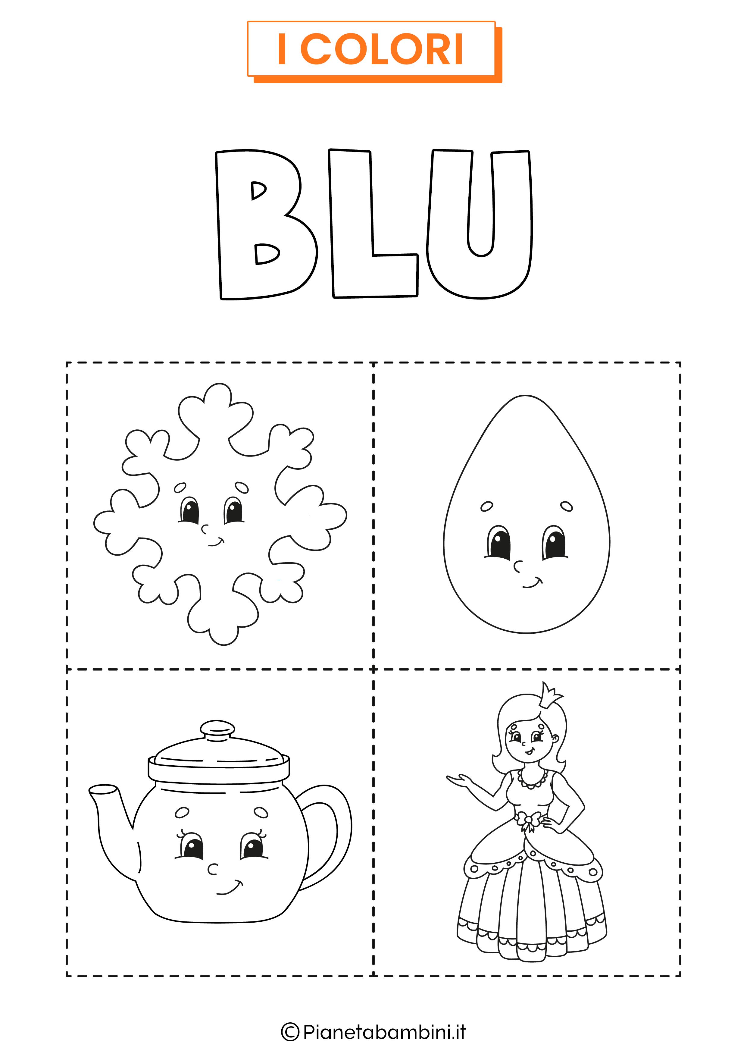 Scheda sul colore blu da colorare