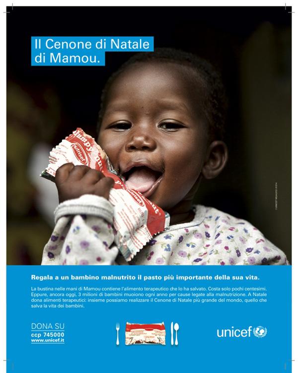 Campagna Unicef cenone di Natale