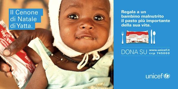 Unicef dono una un pasto ai bambini
