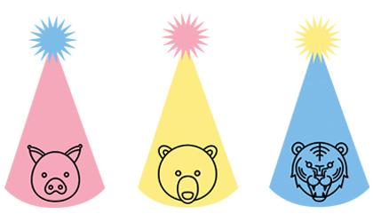 Immagini dei cappelli di carta con animali