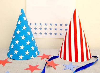 Immagine dei cappelli di carta a stelle e strisce