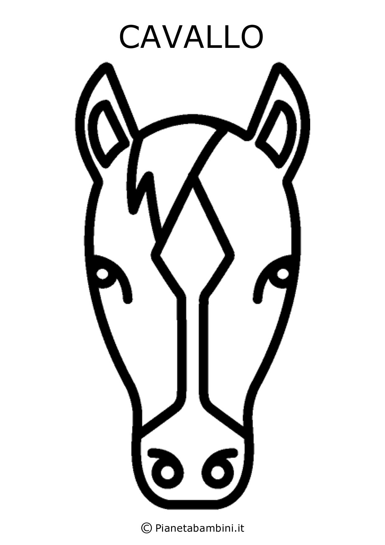 Facce di 81 animali da stampare colorare e ritagliare for Disegno cavallo stilizzato