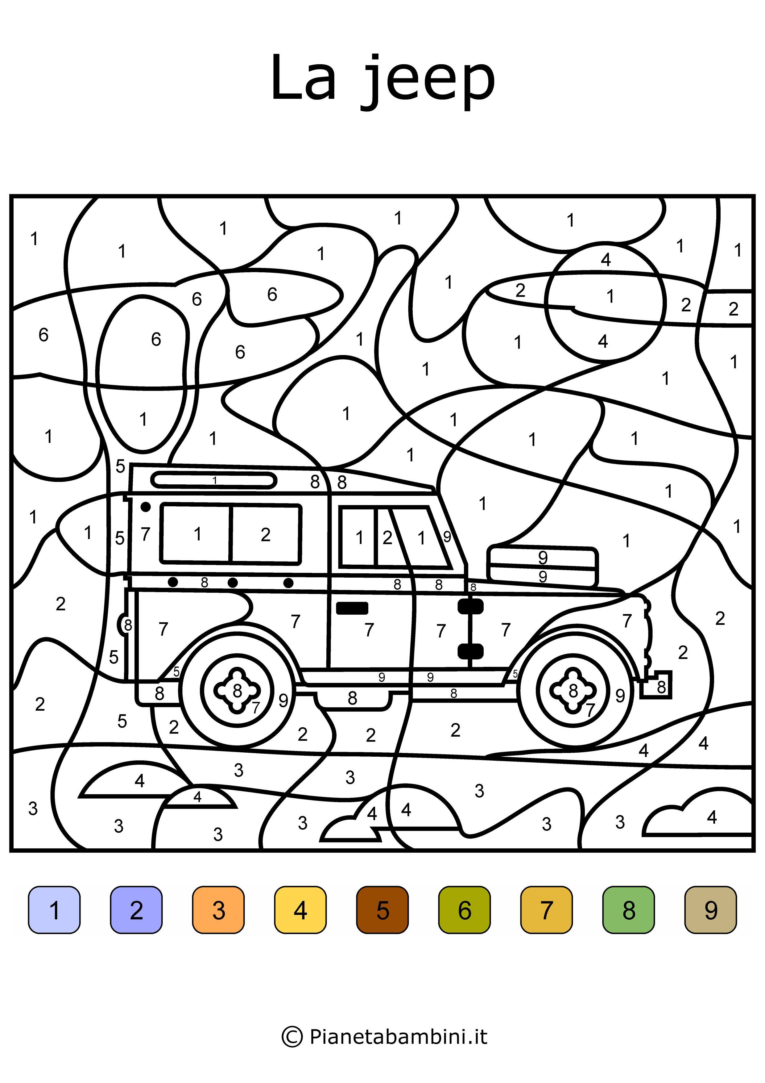 Conta e colora da stampare disegni da colorare in base ai for Jeep da colorare
