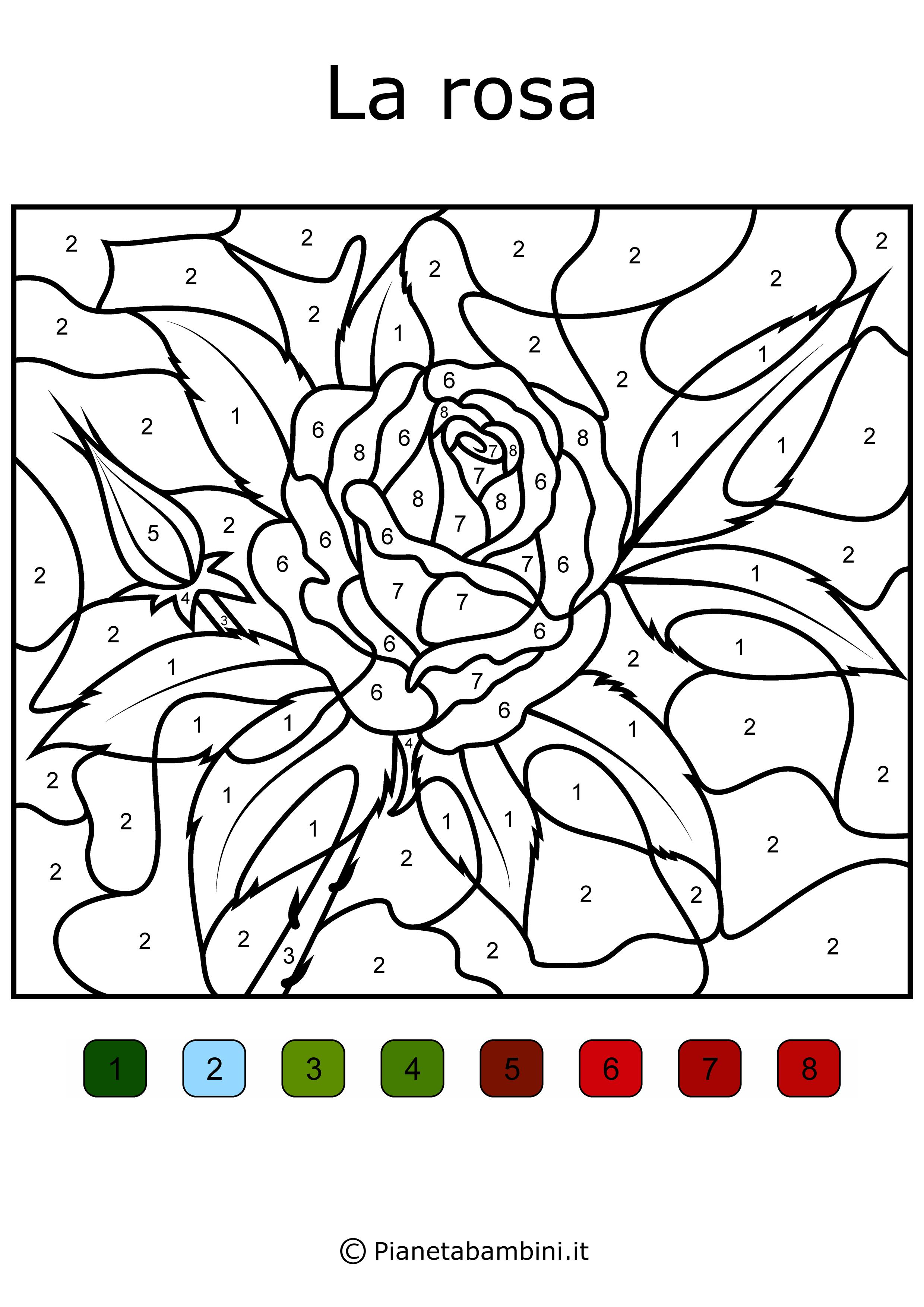 Conta e colora da stampare disegni da colorare in base ai for Colorare le rose
