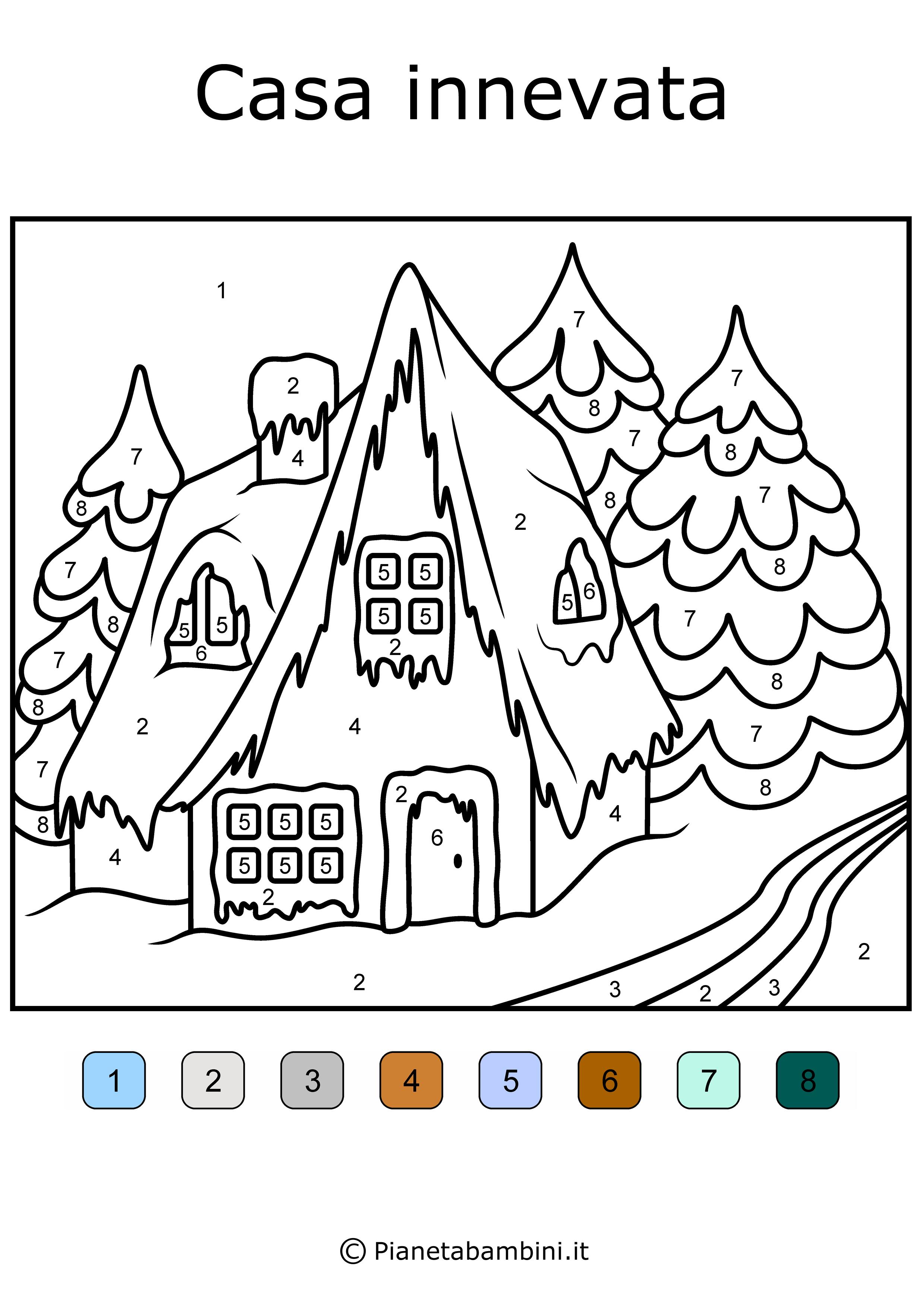 Conta e colora da stampare disegni da colorare in base ai for Disegni di casa da stampare e colorare