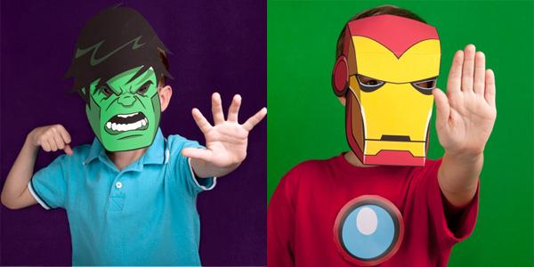 Maschere di Halloween dei supereroi da stampare e ritagliare