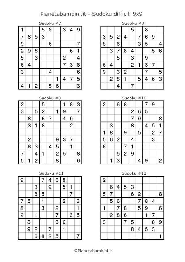 Sudoku per bambini schemi difficili da stampare