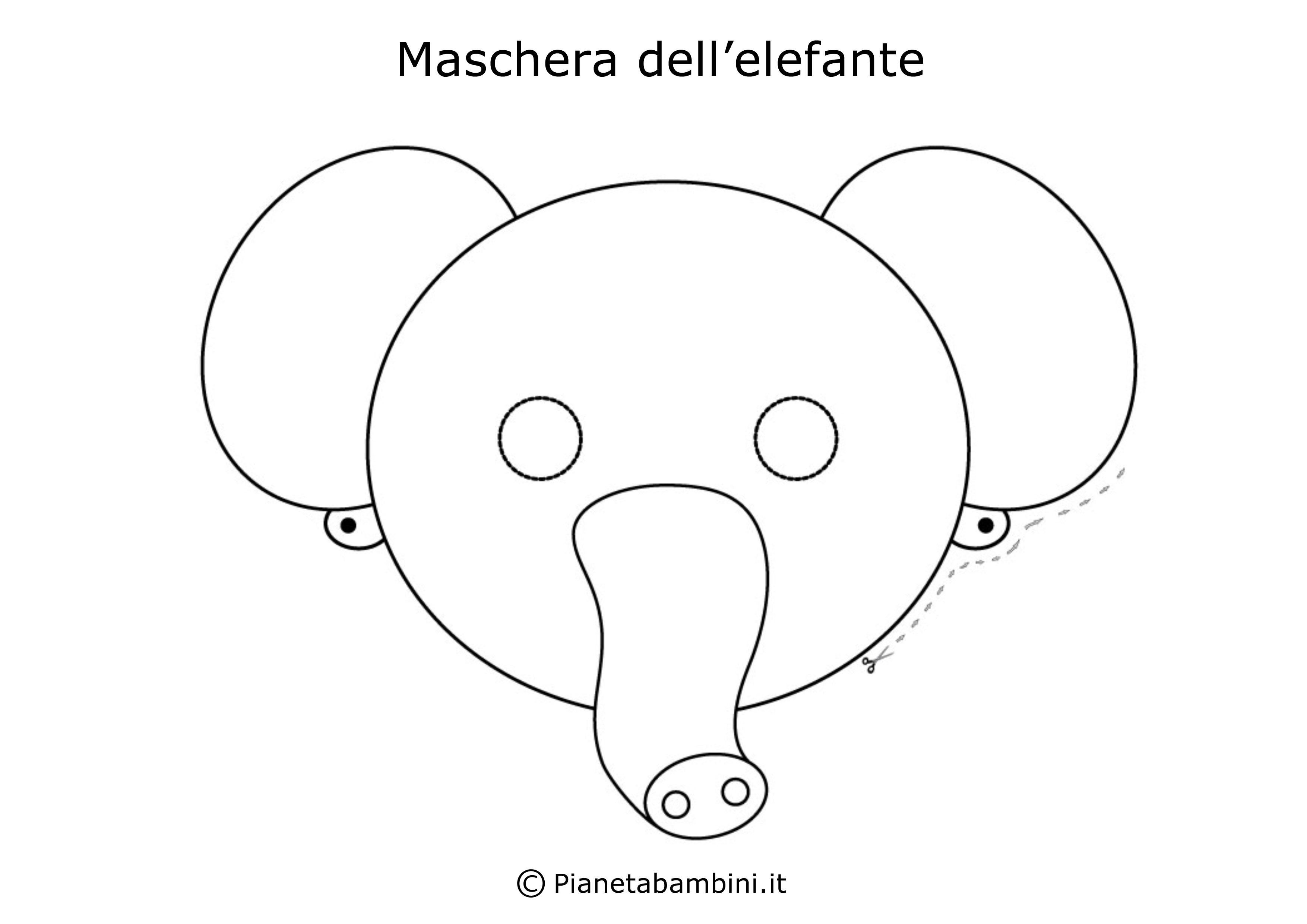 Maschera-Colorare-Elefante