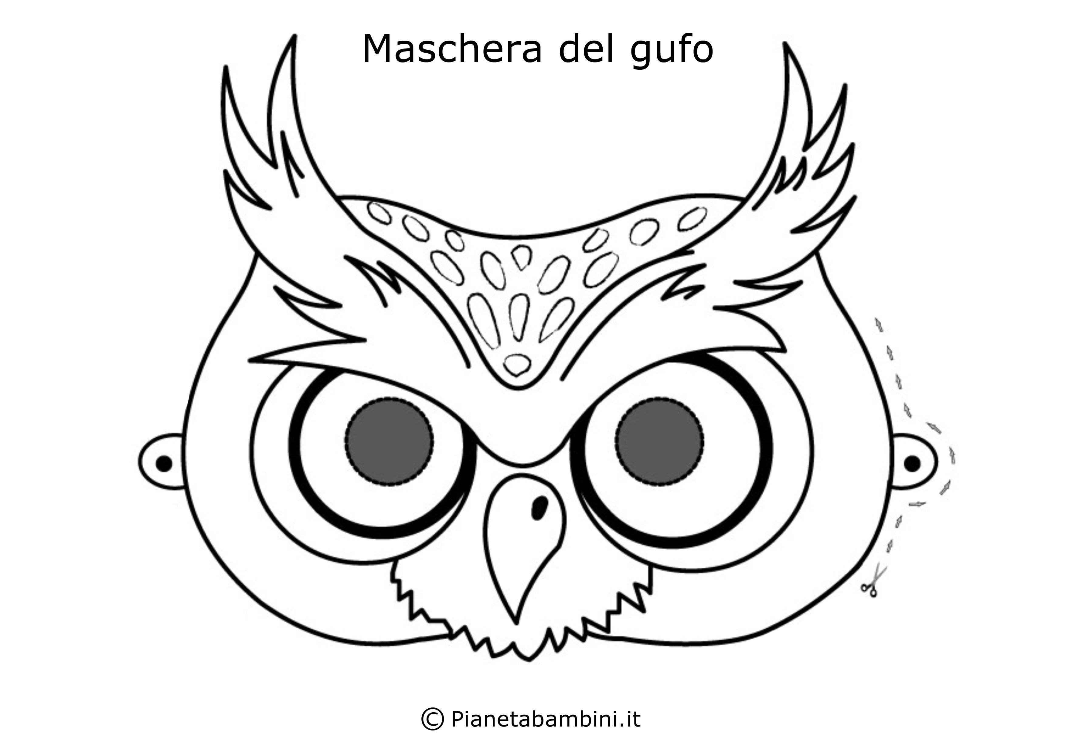 Maschera-Colorare-Gufo