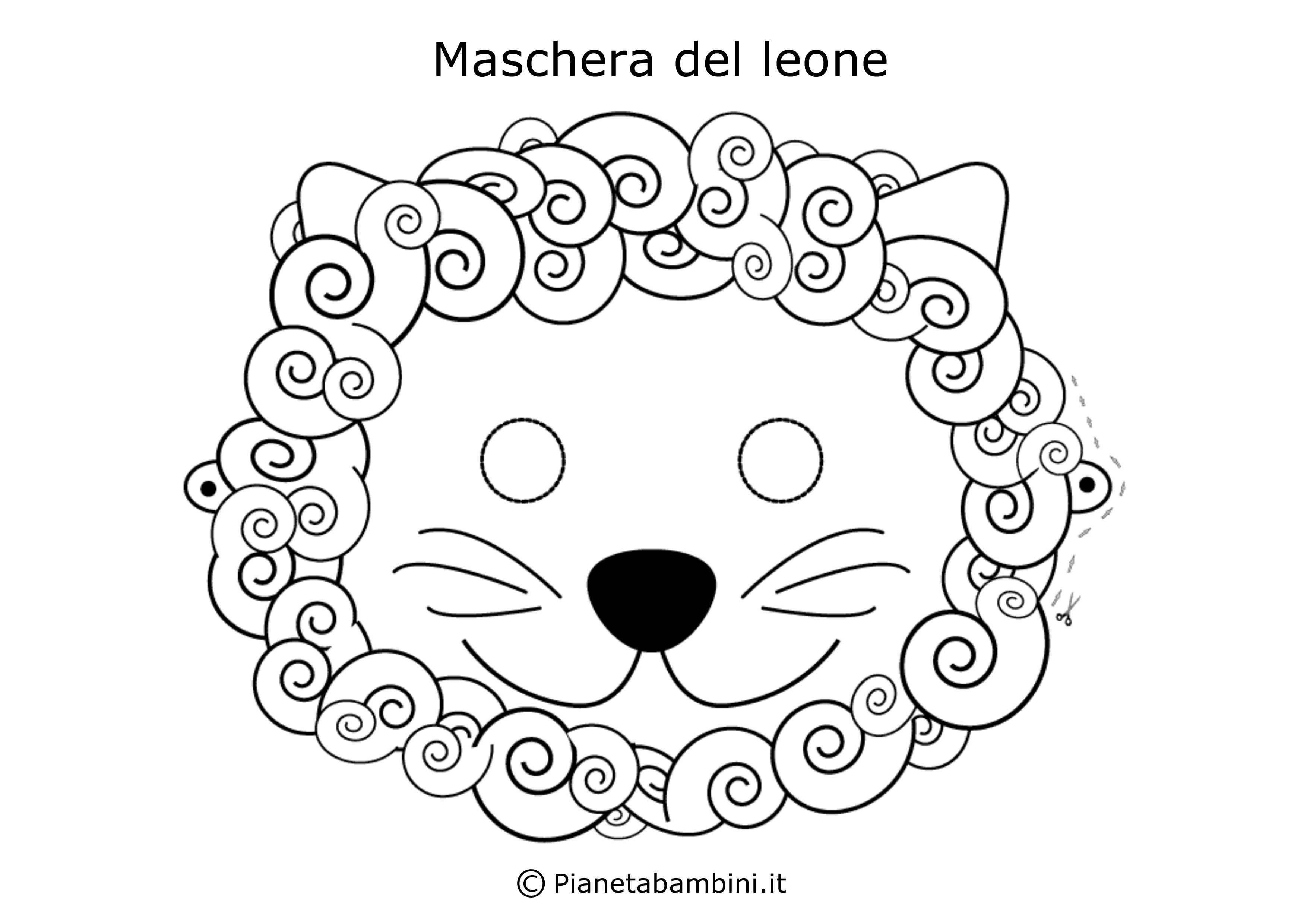 Maschera-Colorare-Leone