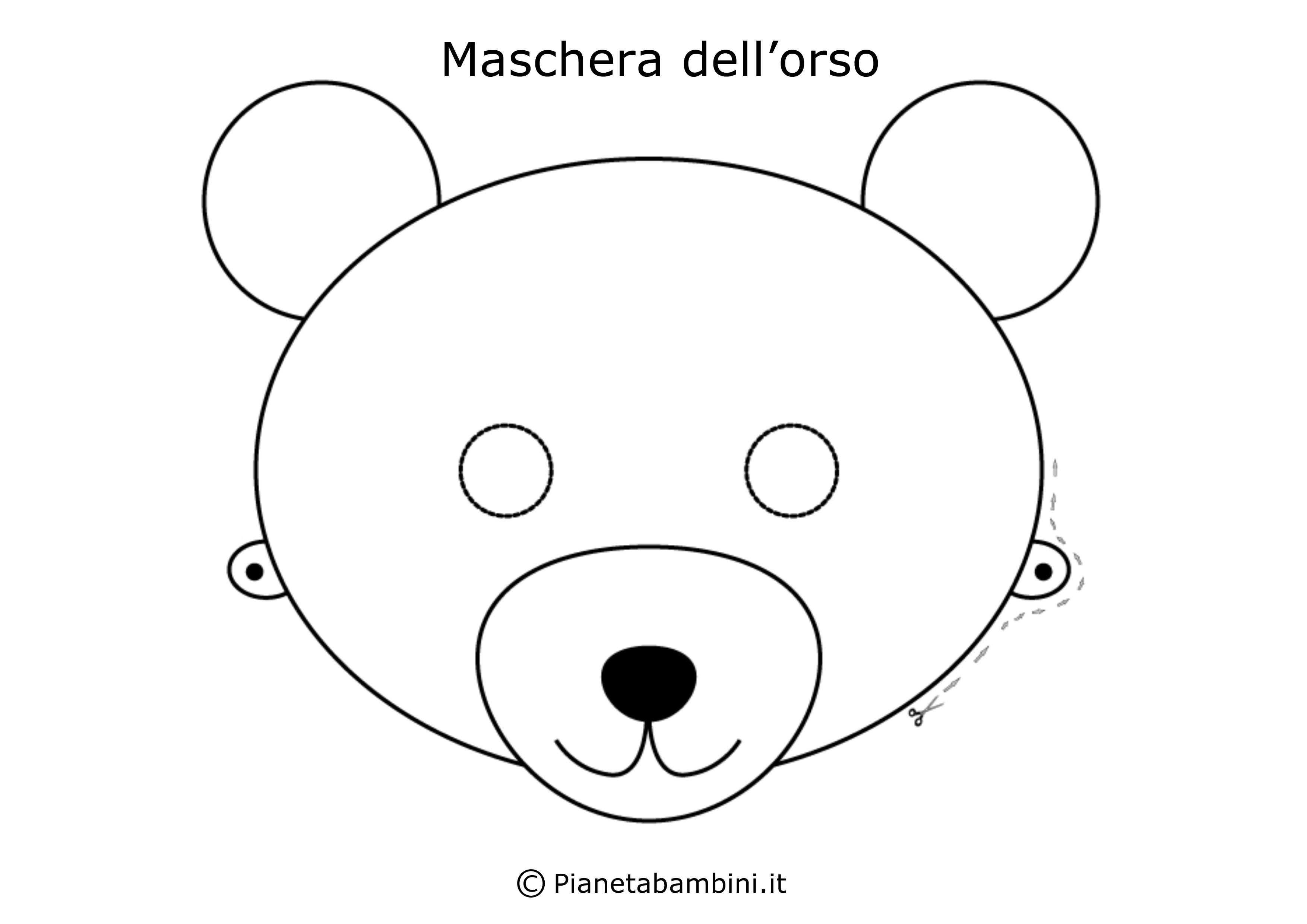62 maschere di carnevale da colorare e ritagliare for Disegno orso per bambini