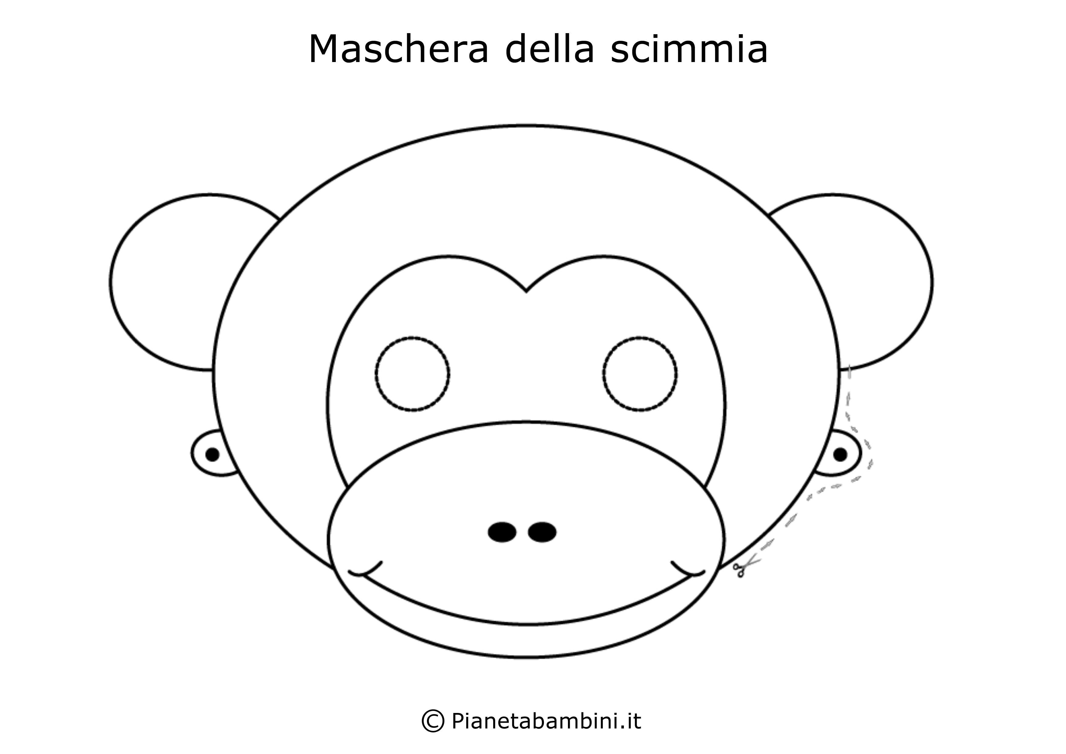 Maschera-Colorare-Scimmia