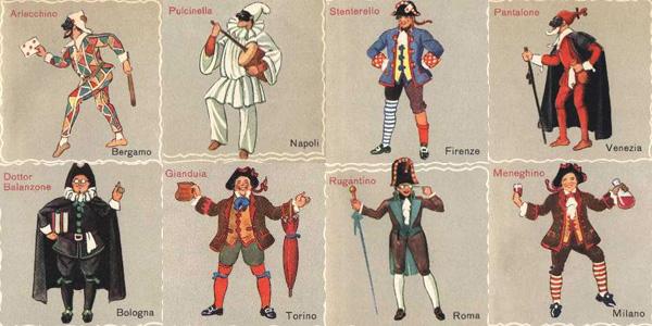 Maschere di Carnevale tradizionali da colorare