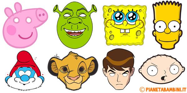 Maschere dei cartoni animati per bambini da stampare e ritagliare