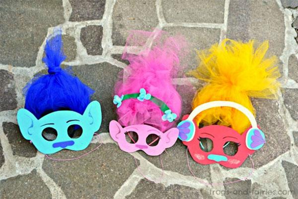 Maschere di Carnevale di Trolls da stampare e ritagliare
