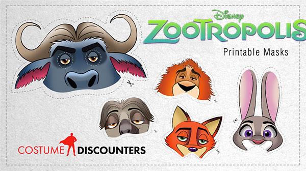 Maschere di Carnevale di Zootropolis da stampare e ritagliare