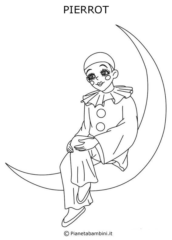 Maschera di Pierrot da colorare