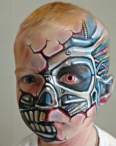 Immagine del trucco per il viso da cyborg