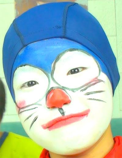 Immagine del trucco per il viso da Doraemon