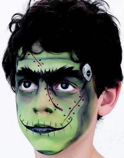 Immagine del trucco per il viso da Frankenstein