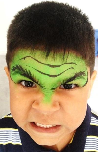 Immagine del trucco per il viso da Hulk