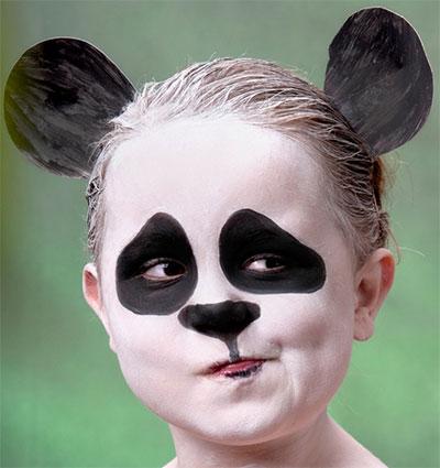 Immagine del trucco per il viso da panda